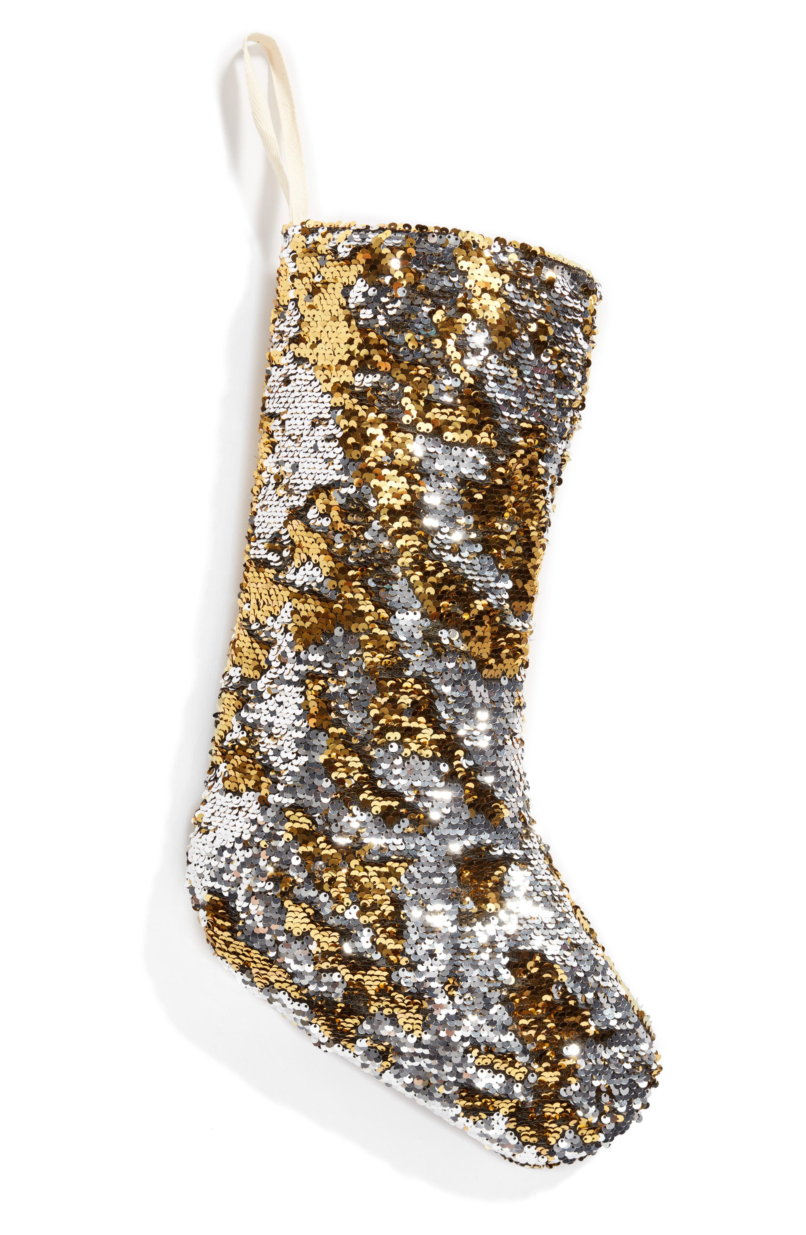 Sequin Stocking,                         Main,                         color, Gold