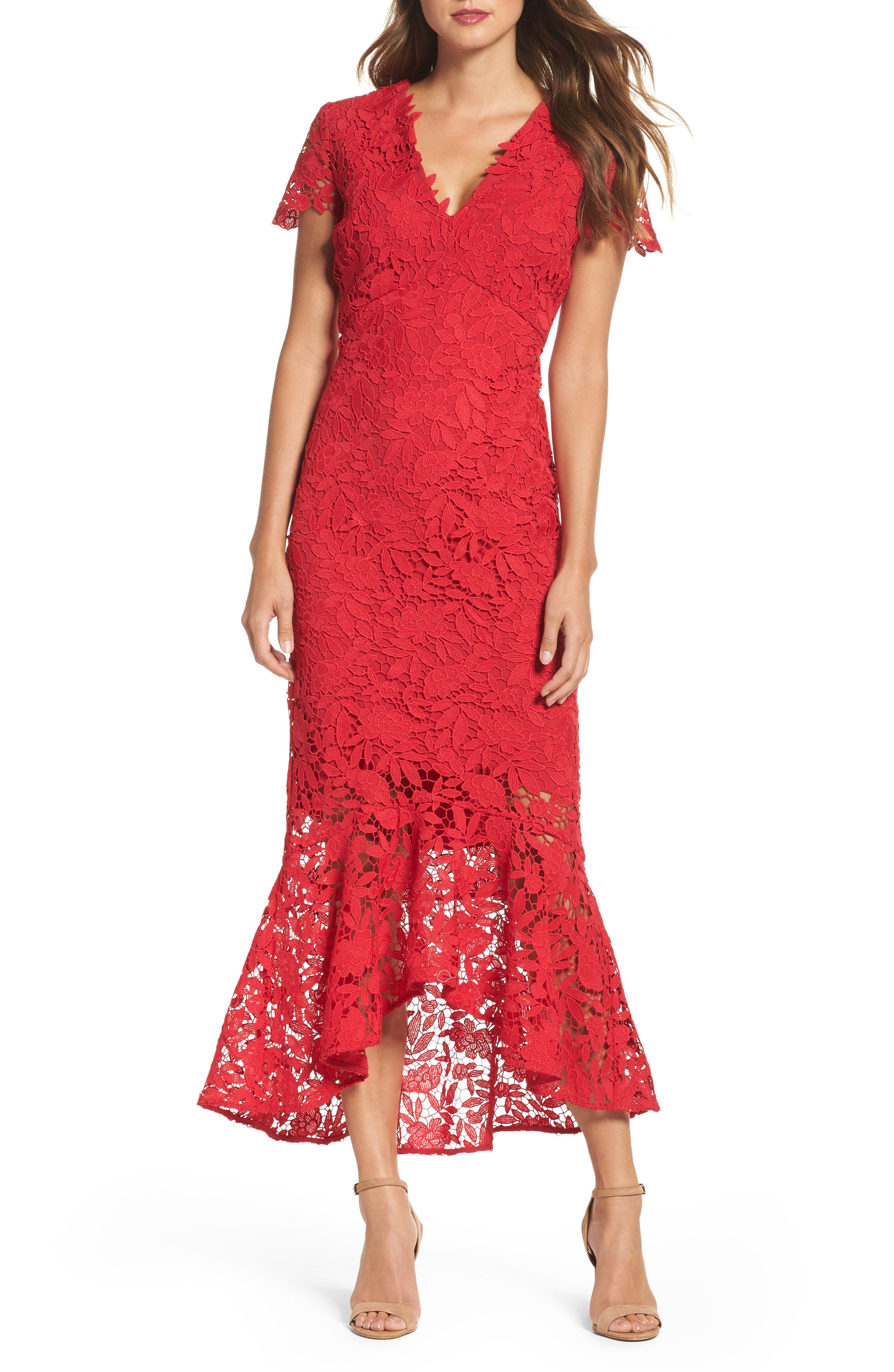 Floral Guipure High/Low Gown,                             Main thumbnail 1, color,                             Ruby
