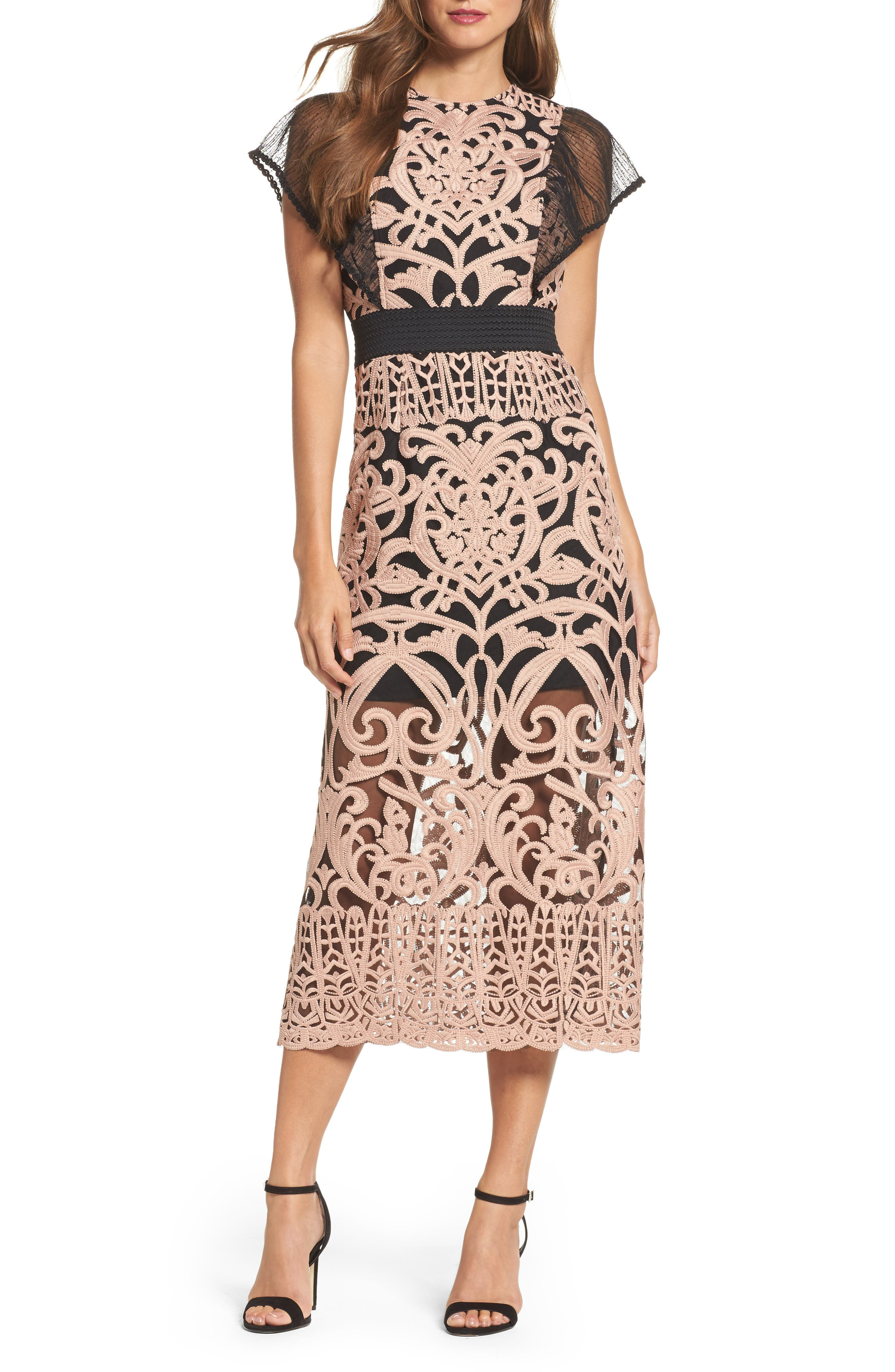 Rosabel Embroidered Midi Sheath Dress,                             Main thumbnail 1, color,                             Pink