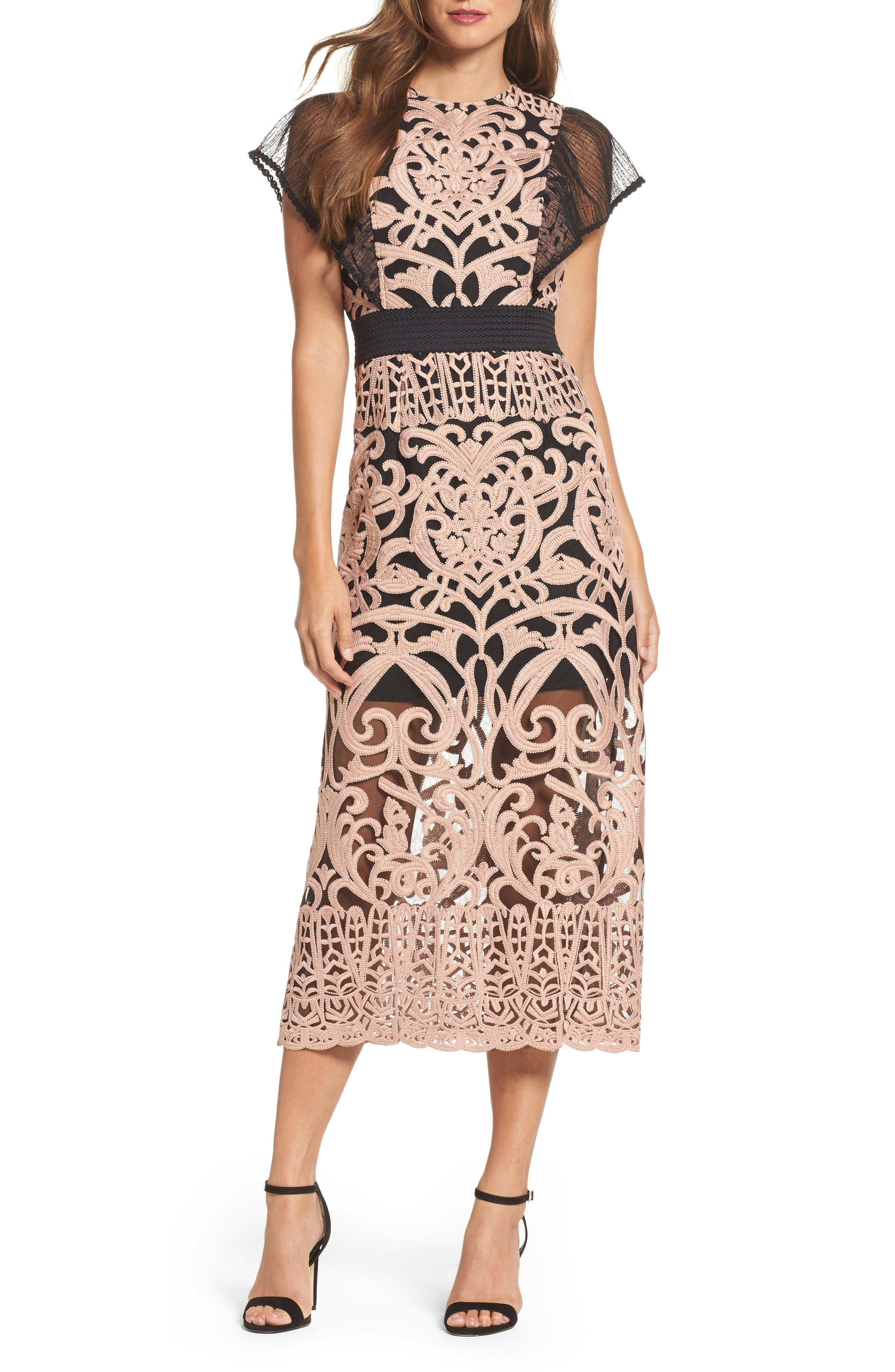 Rosabel Embroidered Midi Sheath Dress,                         Main,                         color, Pink