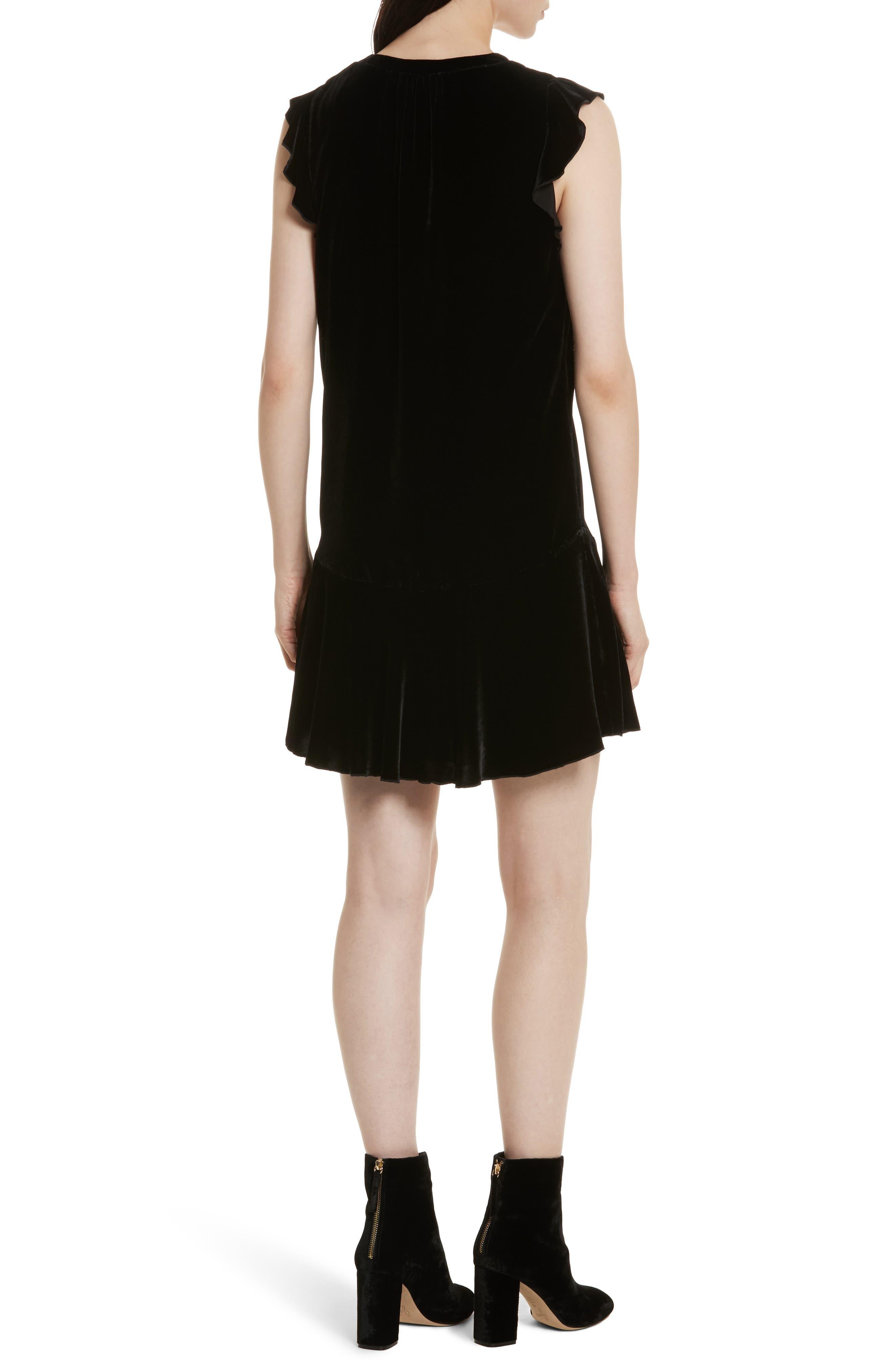 Almarie Velvet Shift Dress,                             Alternate thumbnail 2, color,                             Caviar