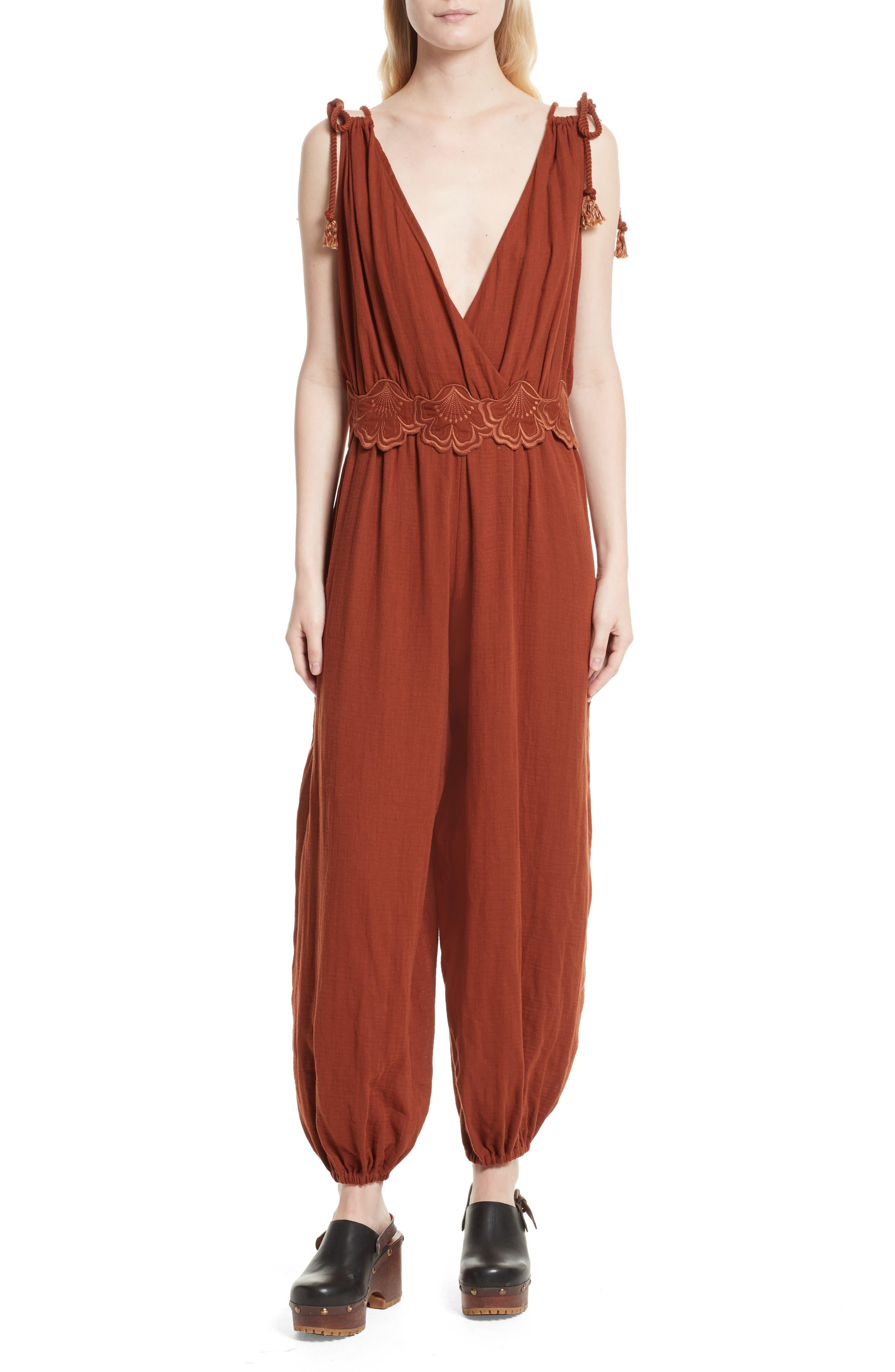 Sleeveless V-Neck Jumpsuit,                         Main,                         color, Mahogany
