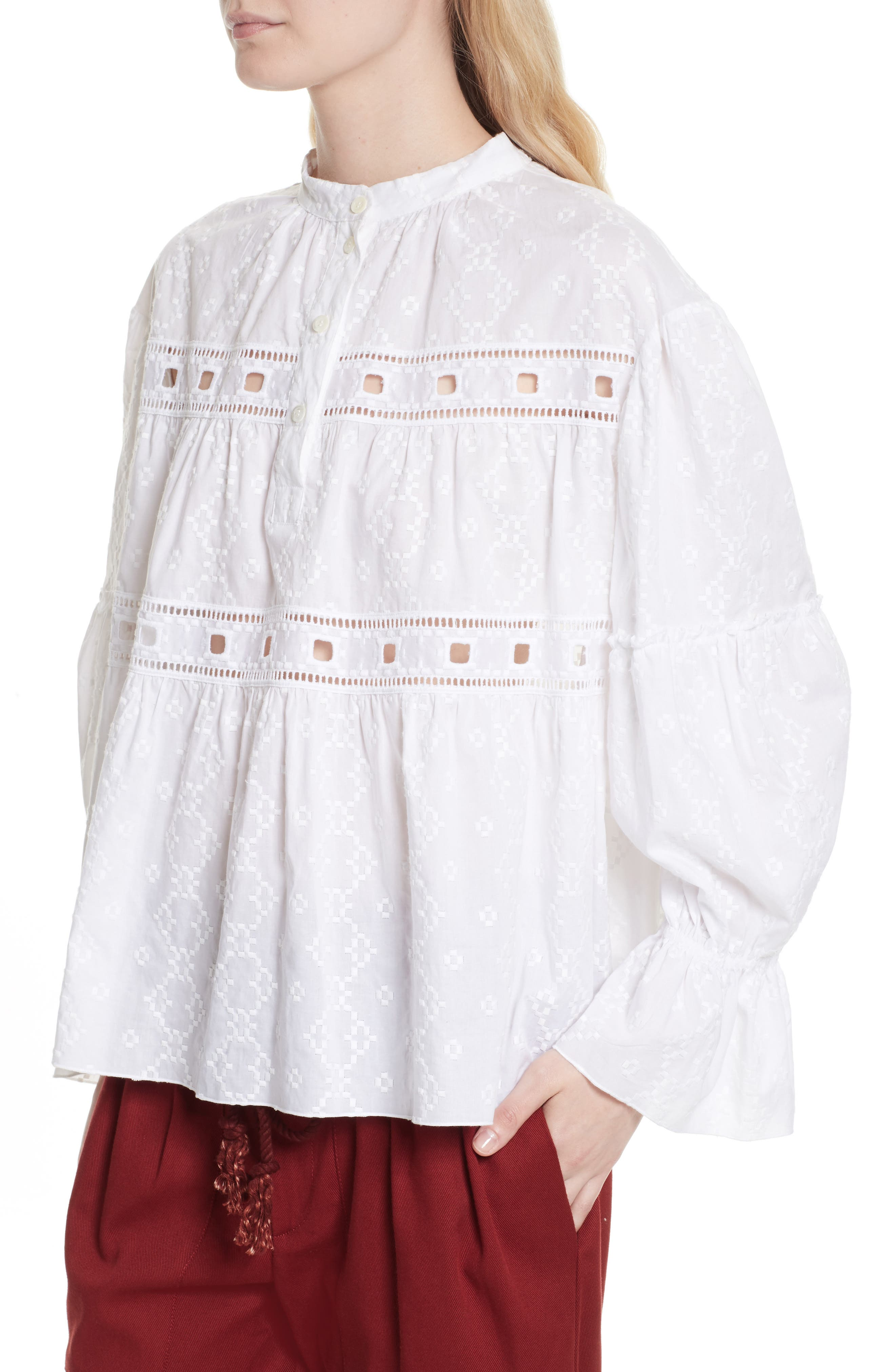 Embroidered Eyelet Blouse,                             Alternate thumbnail 4, color,                             White