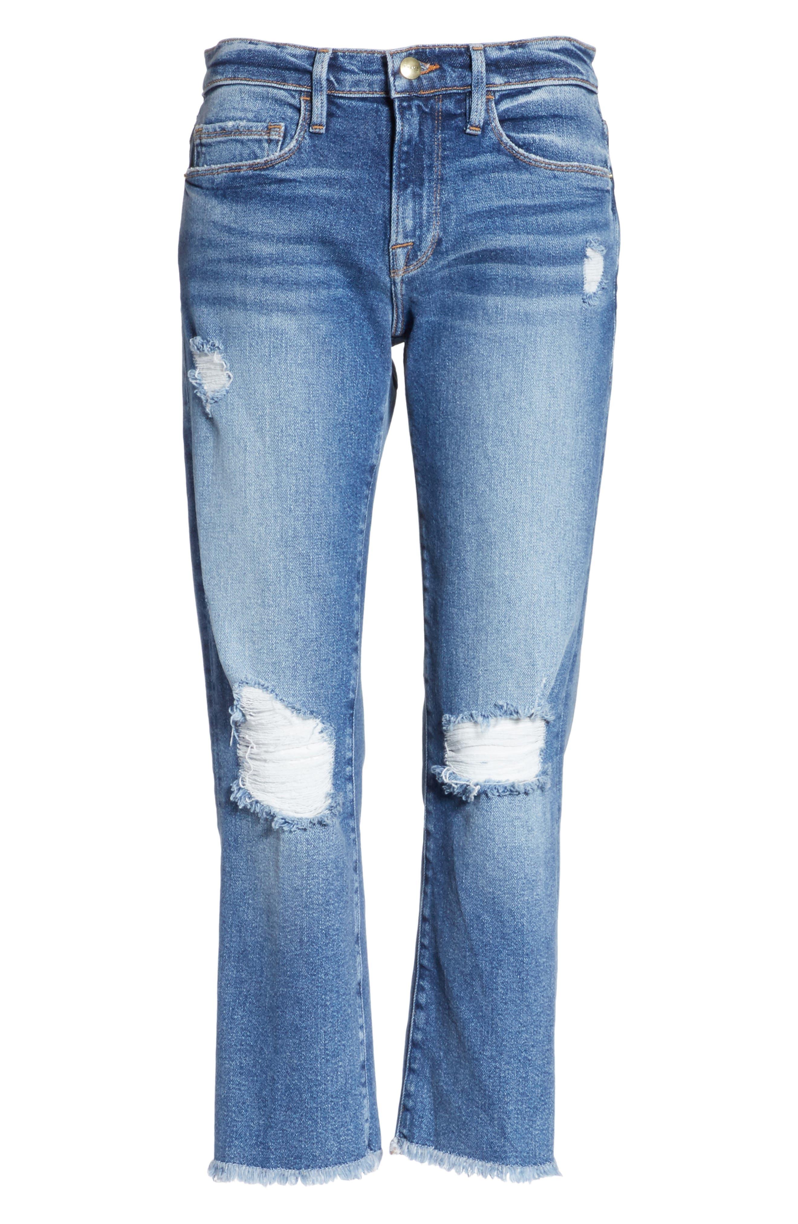 Nouveau Le Straight Raw Hem Jeans,                             Alternate thumbnail 7, color,                             Sackett