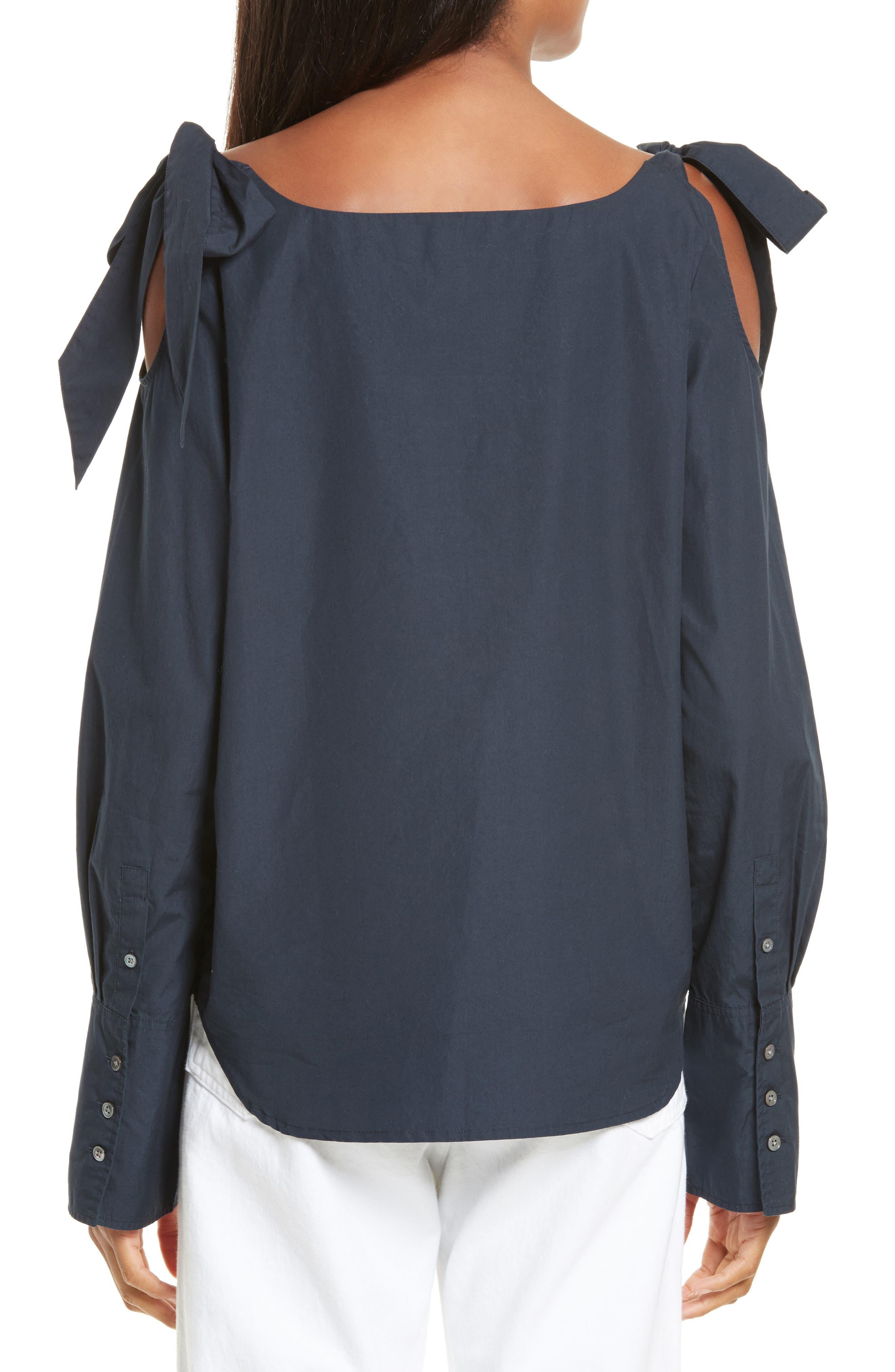 Bow Cold Shoulder Cotton Blouse,                             Alternate thumbnail 2, color,                             Navy