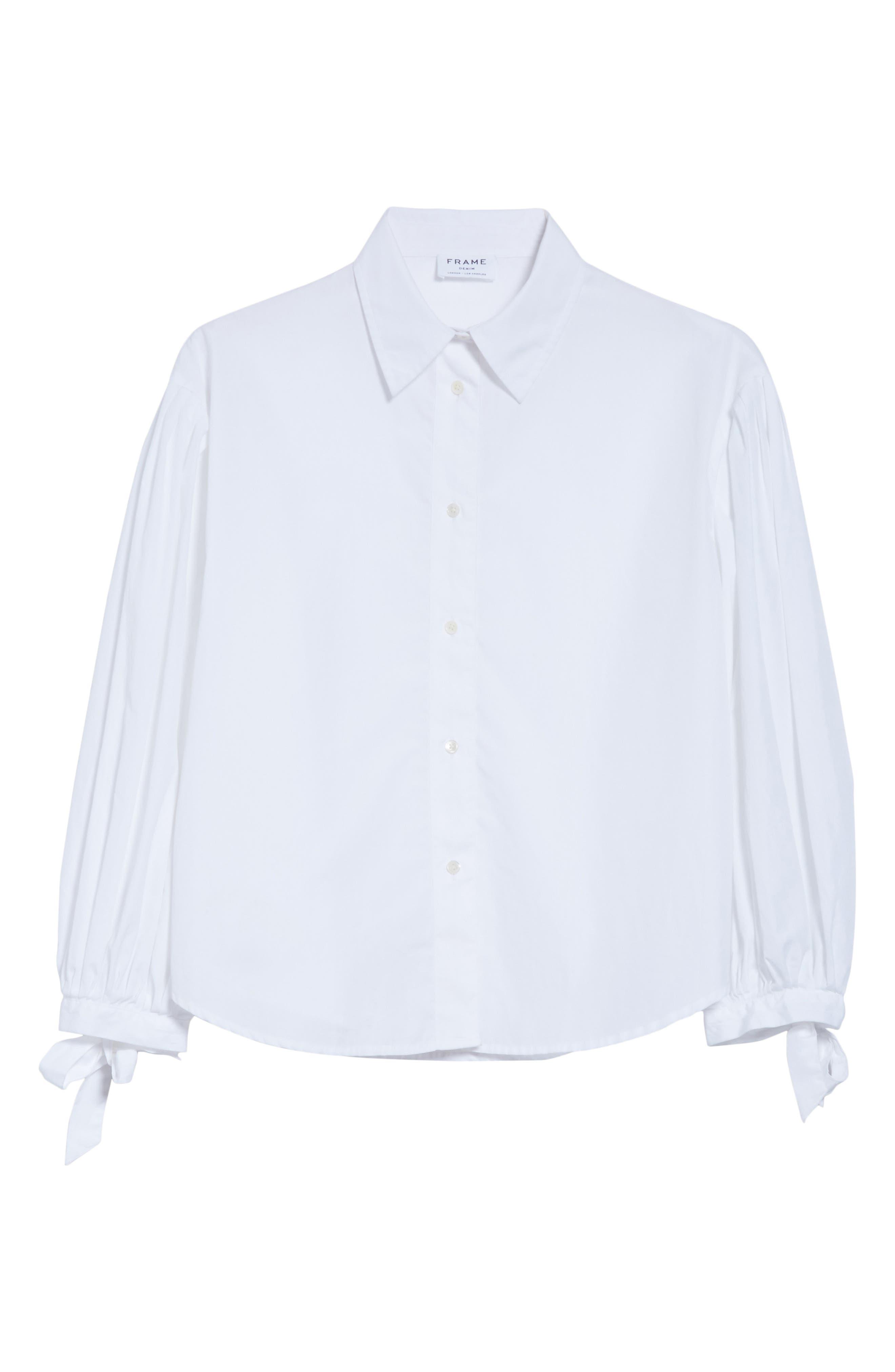 Tie Cuff Cotton Shirt,                             Alternate thumbnail 6, color,                             Blanc