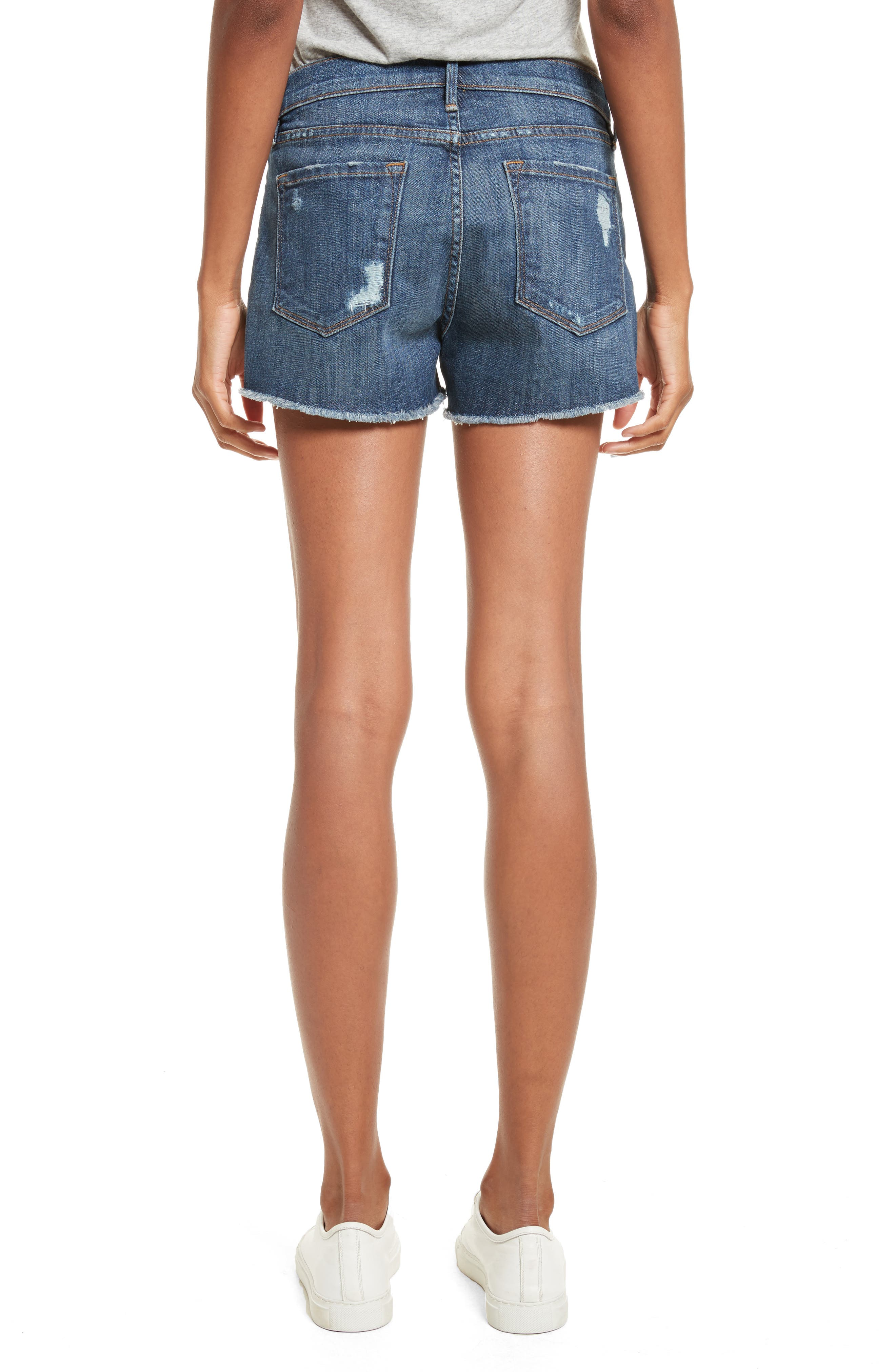 Le Cutoff Denim Shorts,                             Alternate thumbnail 3, color,                             Eckford