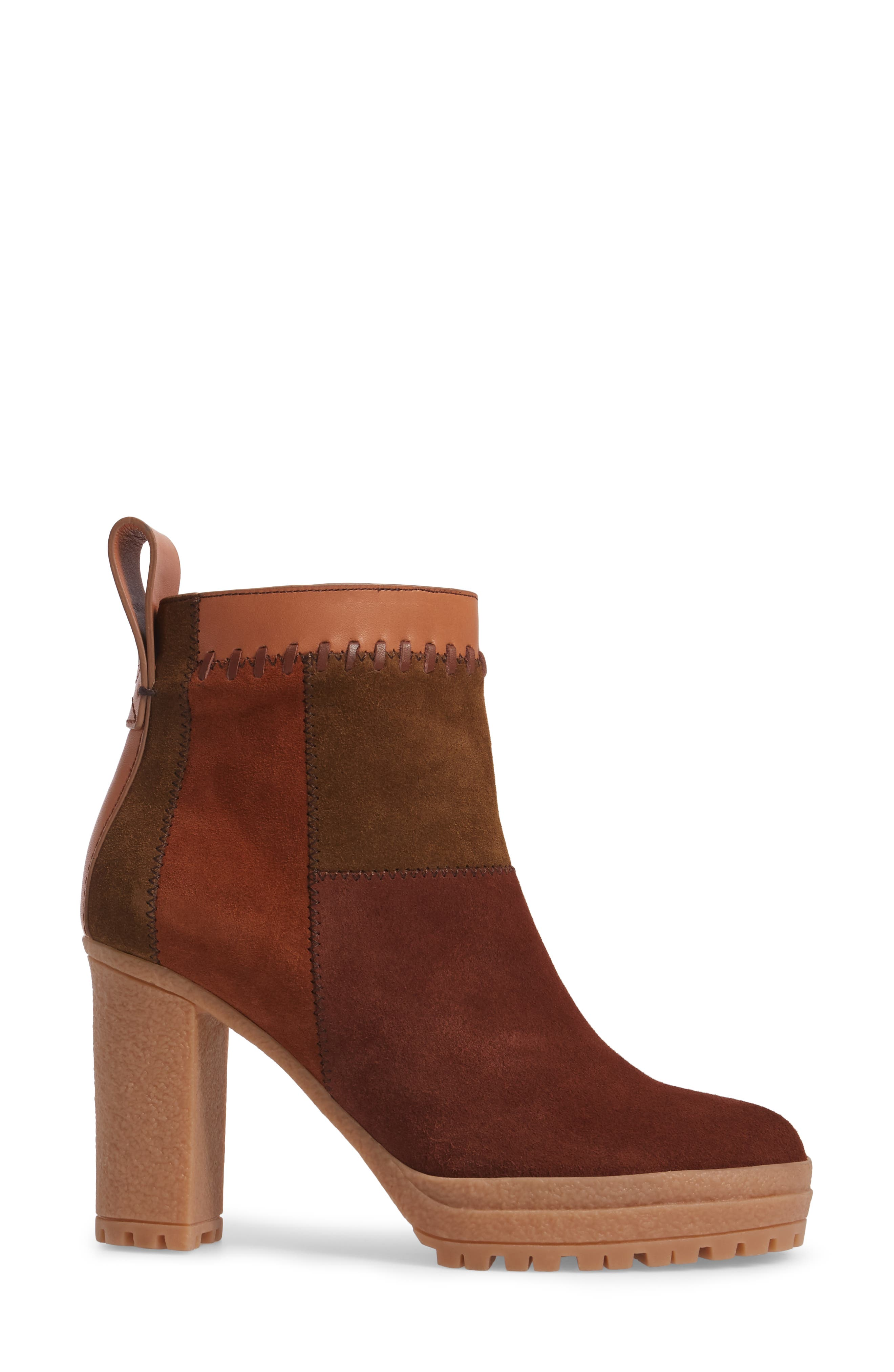 Polina Patchwork Bootie,                             Alternate thumbnail 3, color,                             Brown Multi