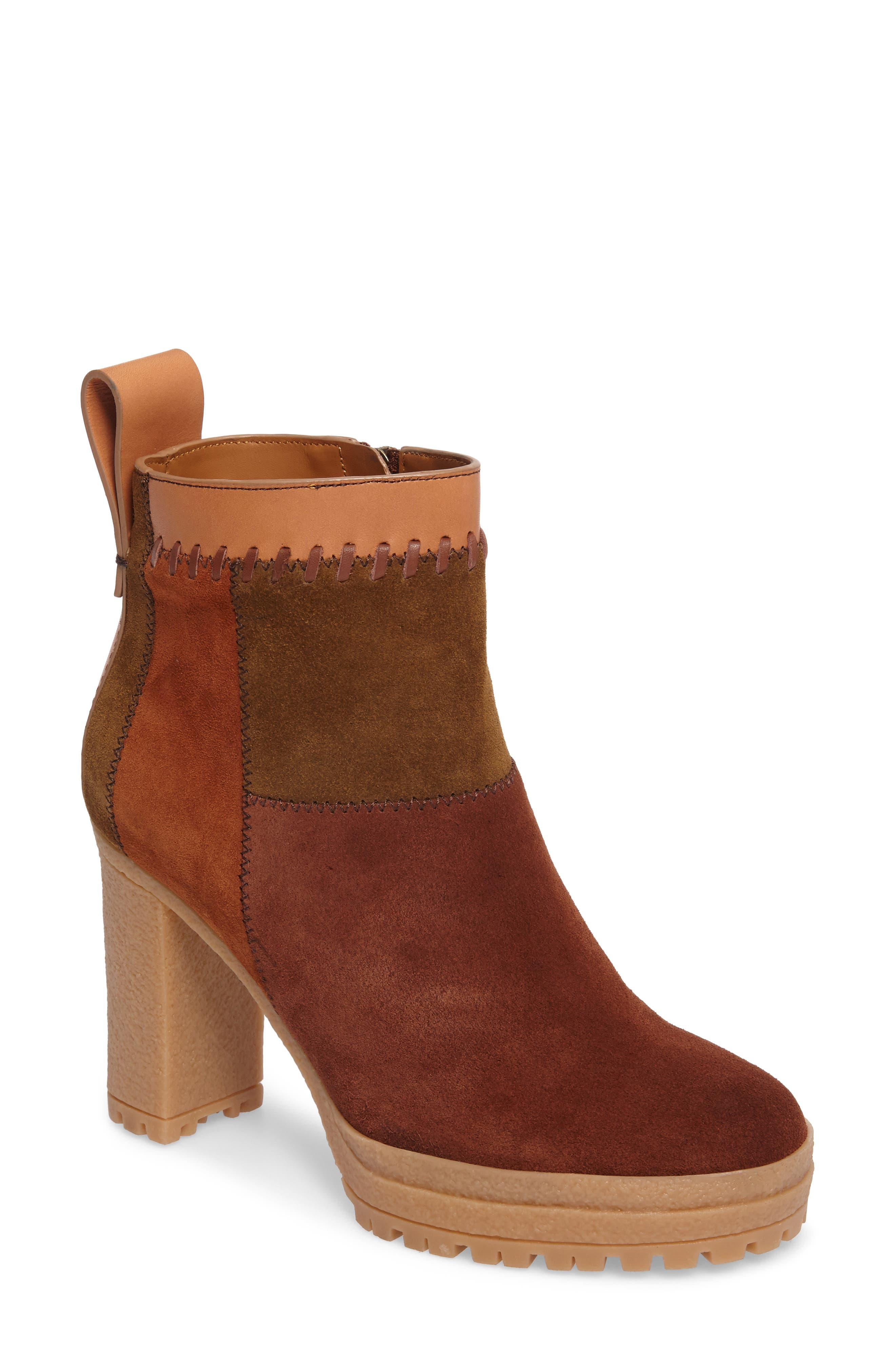 Polina Patchwork Bootie,                         Main,                         color, Brown Multi