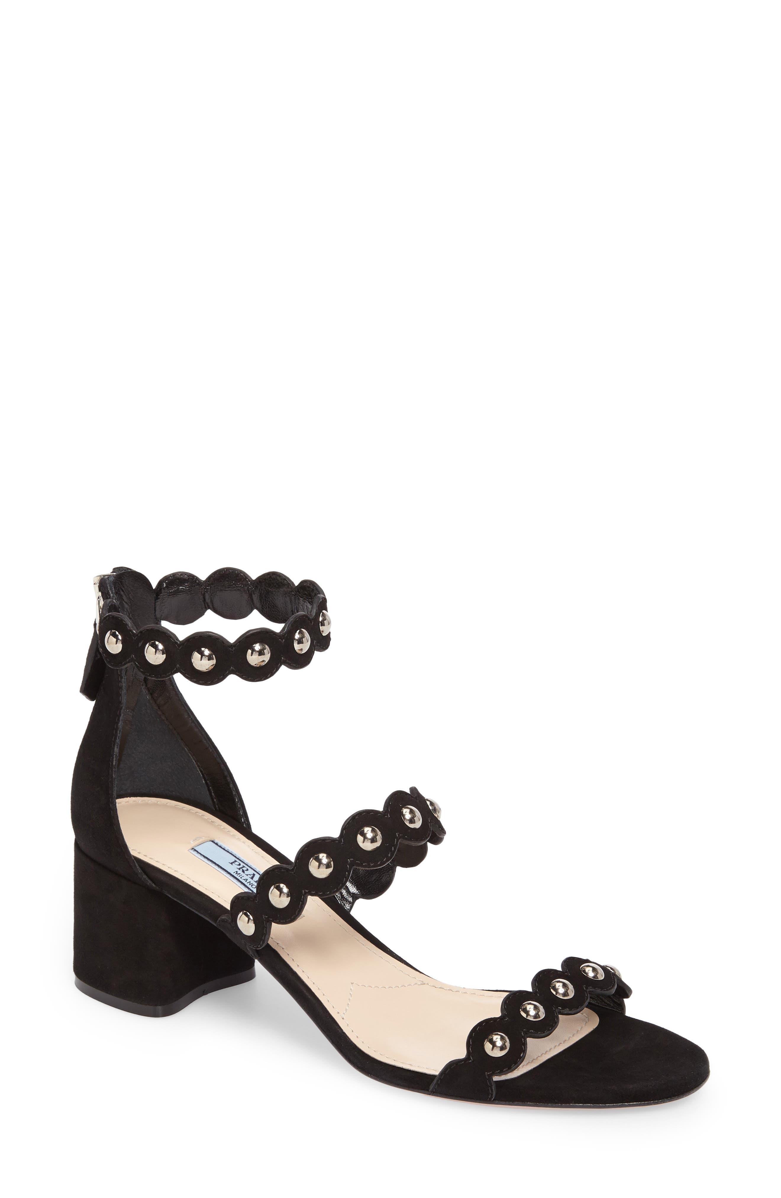 Studded Ankle Strap Sandal,                         Main,                         color, Black