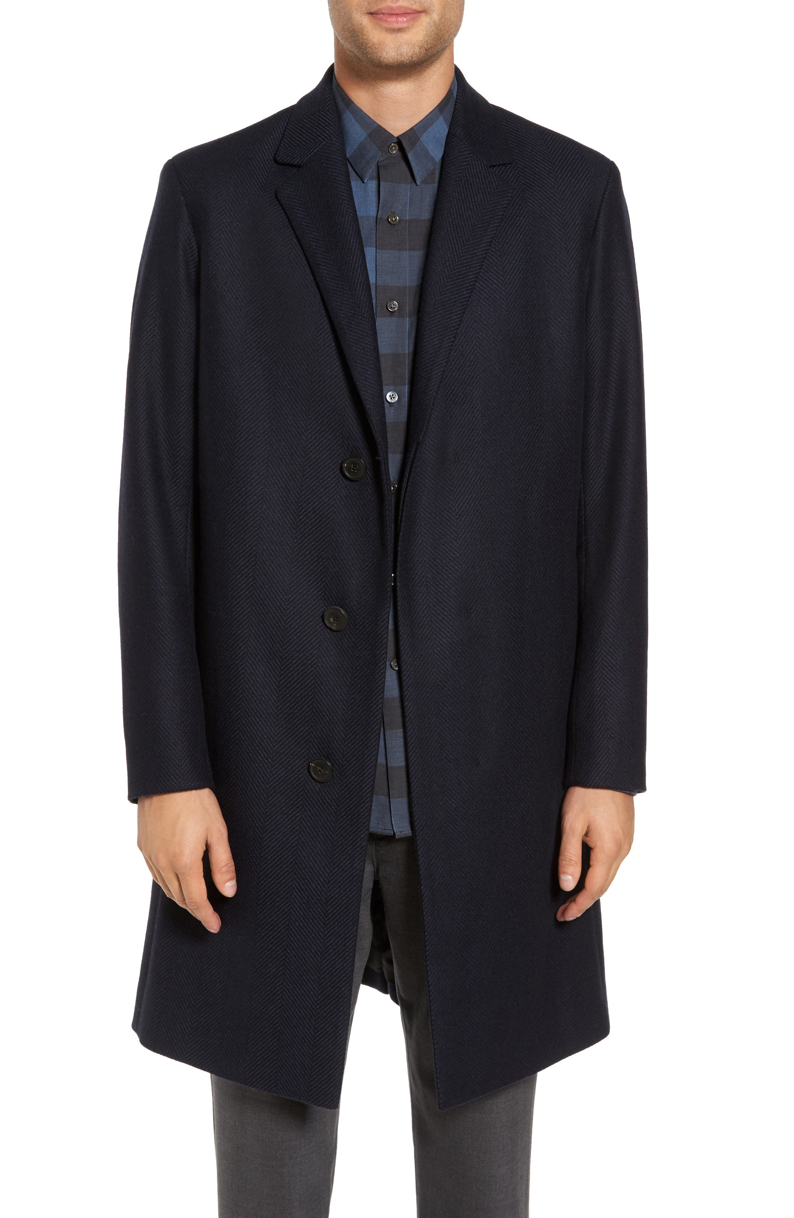 Bower Herringbone Wool Blend Topcoat,                             Main thumbnail 1, color,                             Liberty Multi