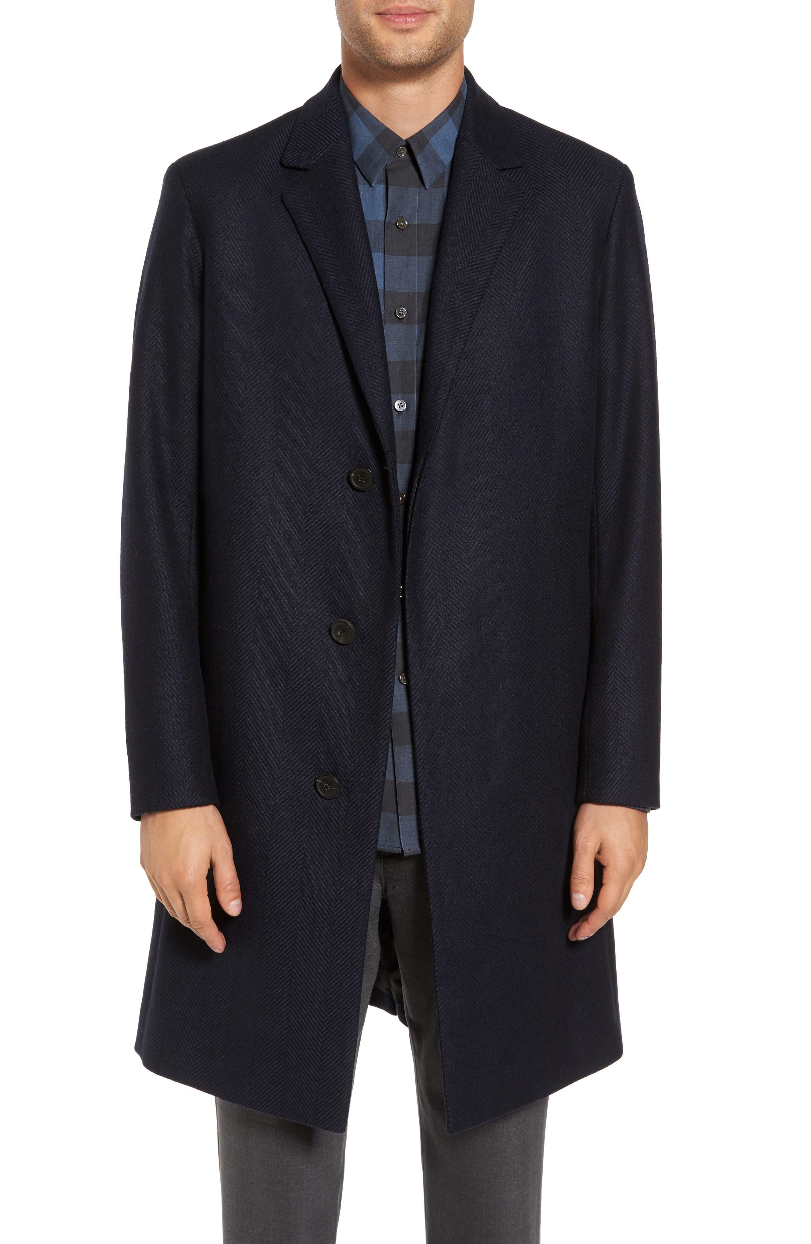 Theory Bower Herringbone Wool Blend Topcoat