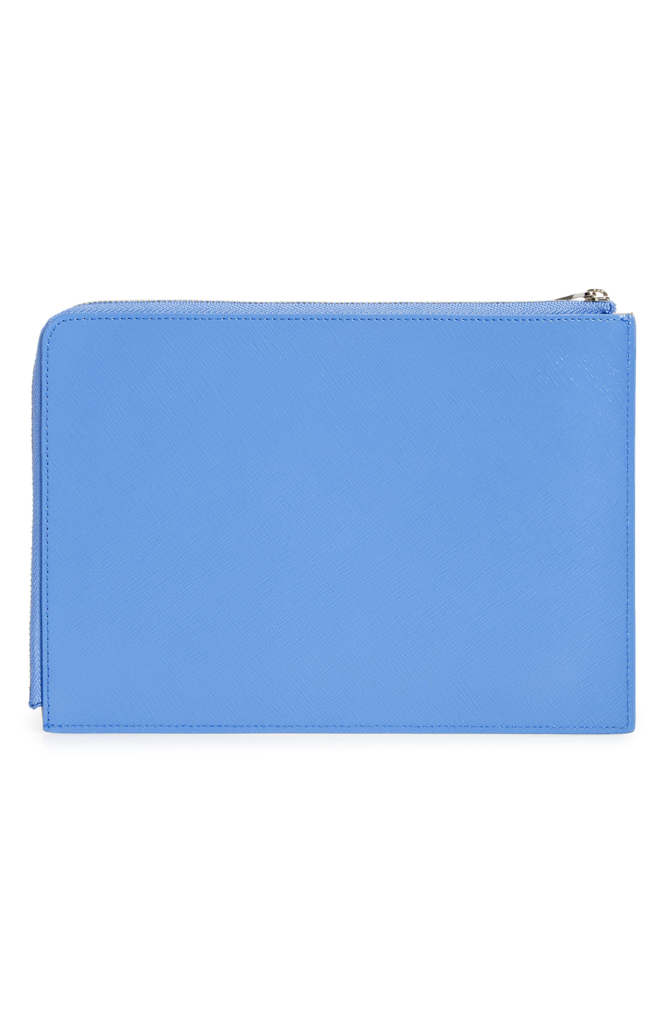Leather Zip Pouch,                             Alternate thumbnail 2, color,                             Blue Regatta
