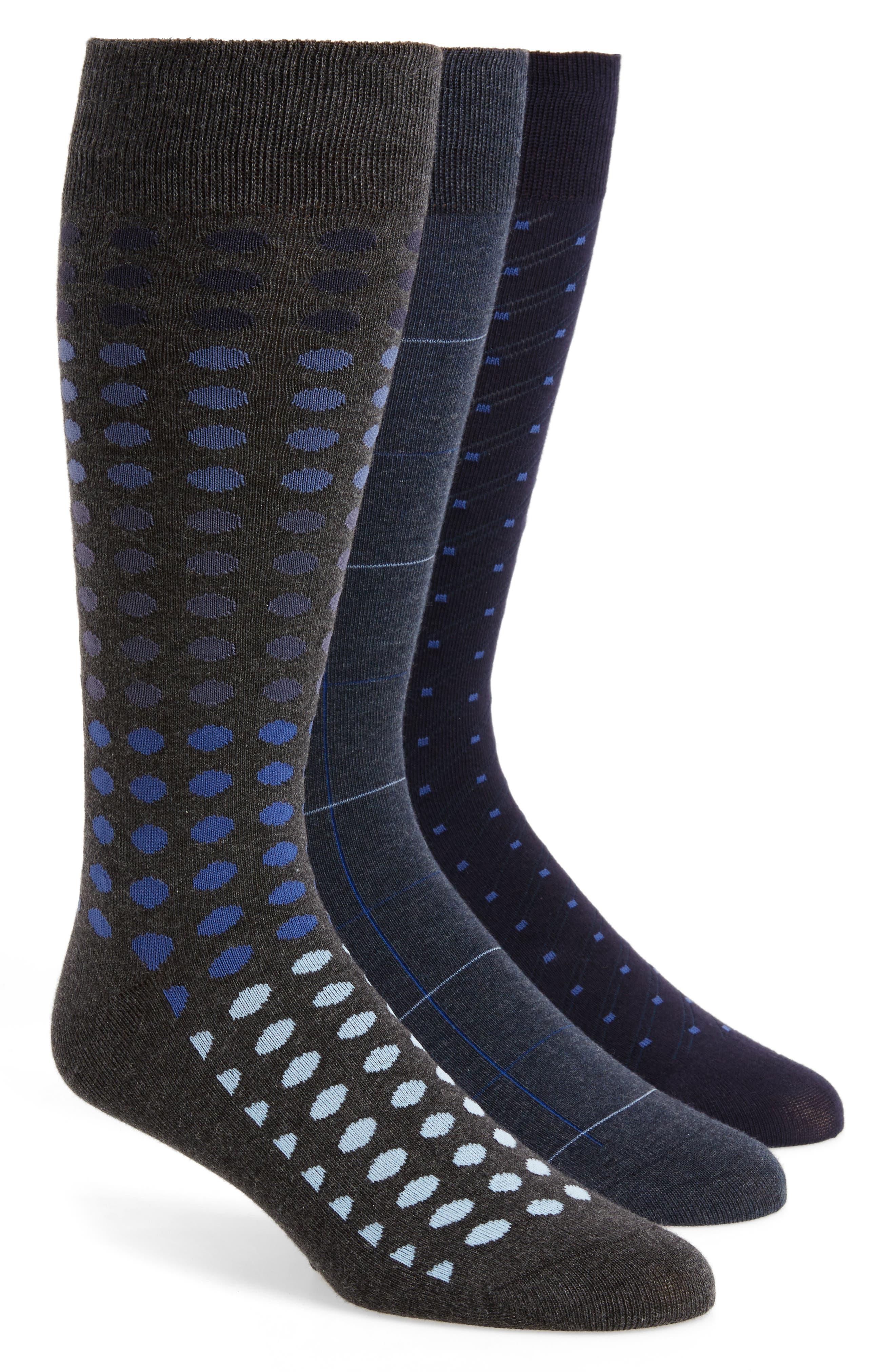 3-Pack Mixed Pattern Socks,                         Main,                         color, Navy