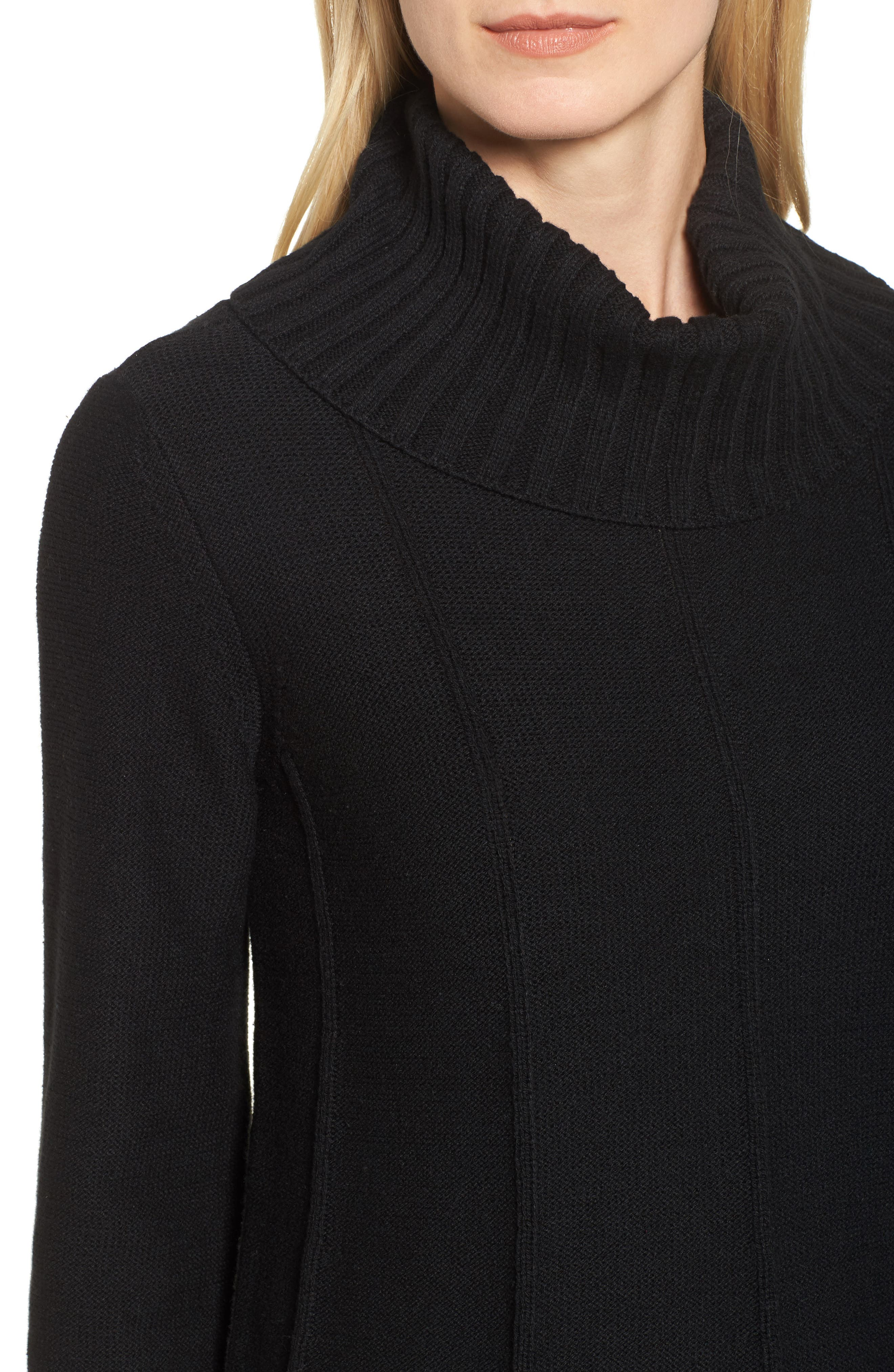 Cowl Neck Bell Sleeve Ribbed Sweater,                             Alternate thumbnail 4, color,                             Rich Black