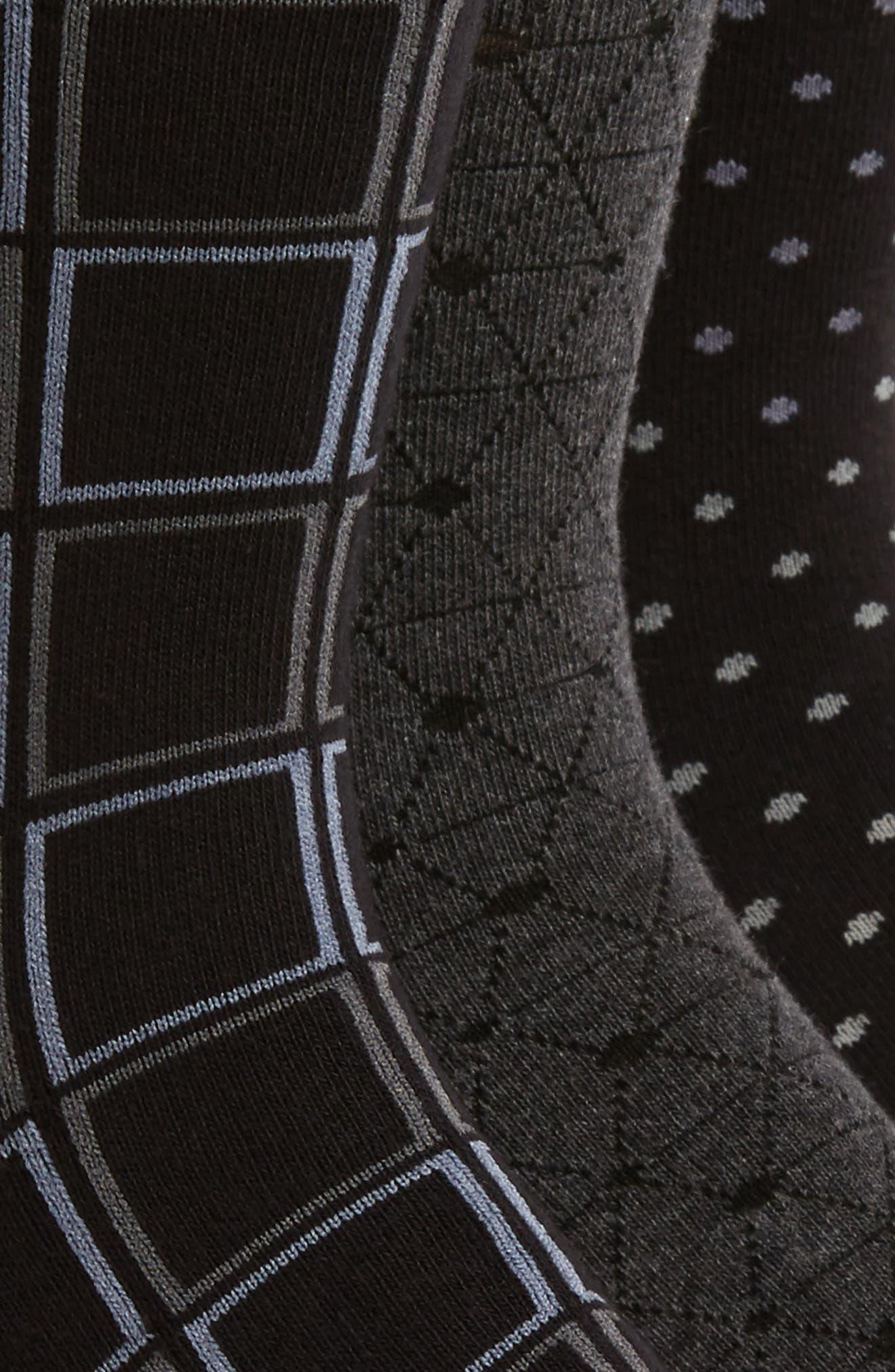3-Pack Mixed Pattern Socks,                             Alternate thumbnail 2, color,                             Black/ Charcoal