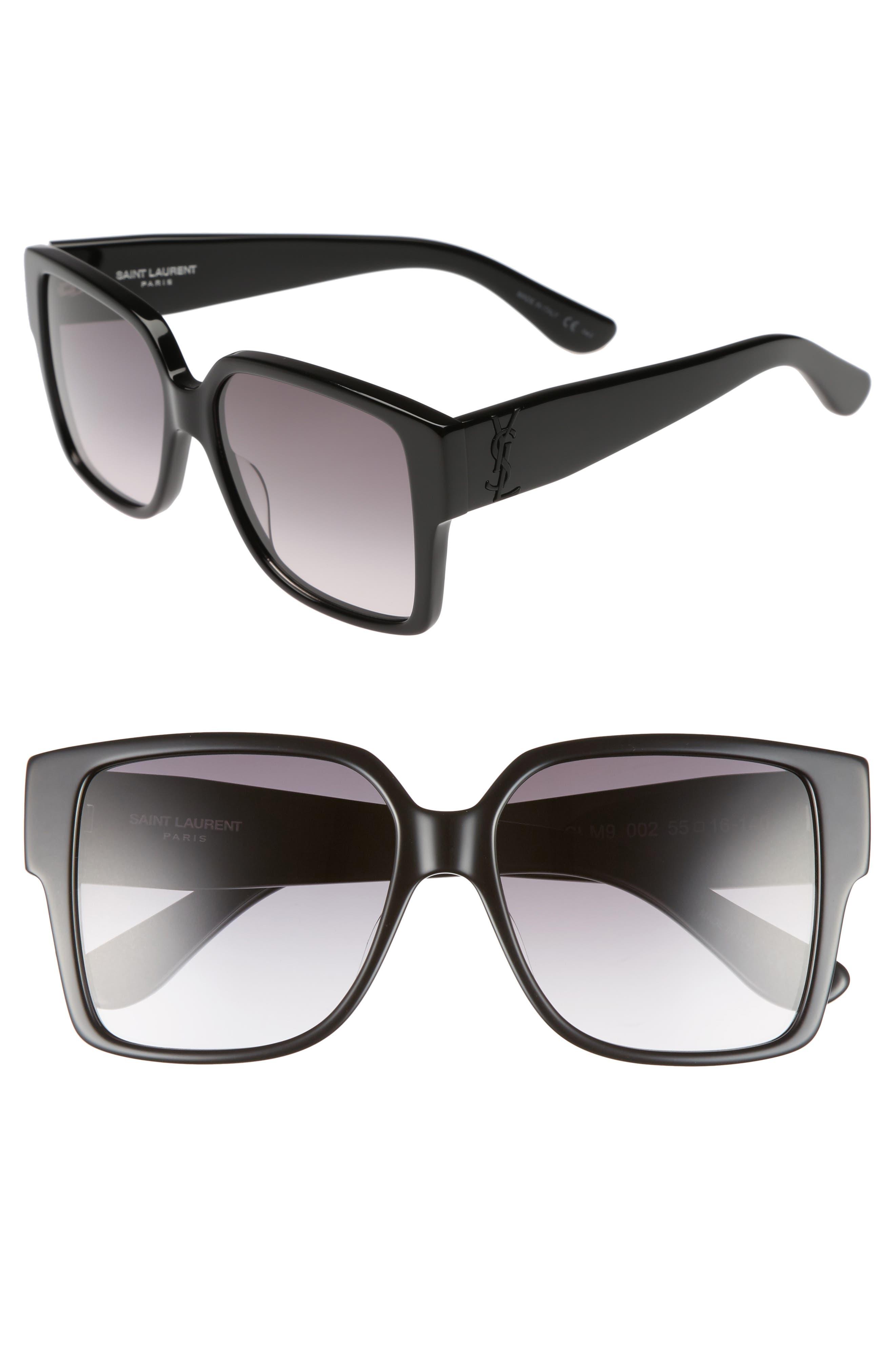 55mm Square Sunglasses,                         Main,                         color, Black/ Black/ Grey