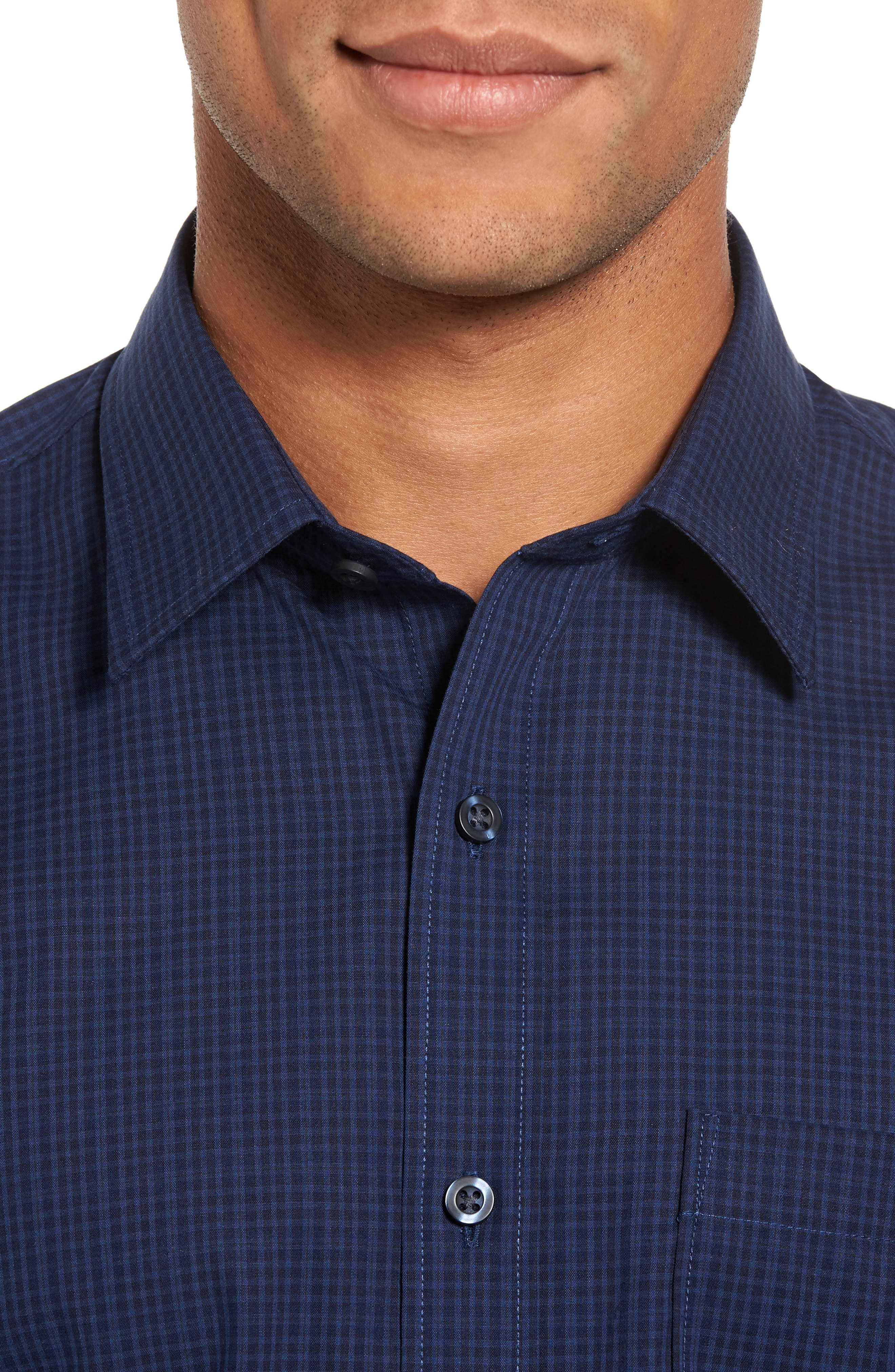 Trim Fit Non-Iron Mini Check Sport Shirt,                             Alternate thumbnail 4, color,                             Navy Iris Blue Mini Check