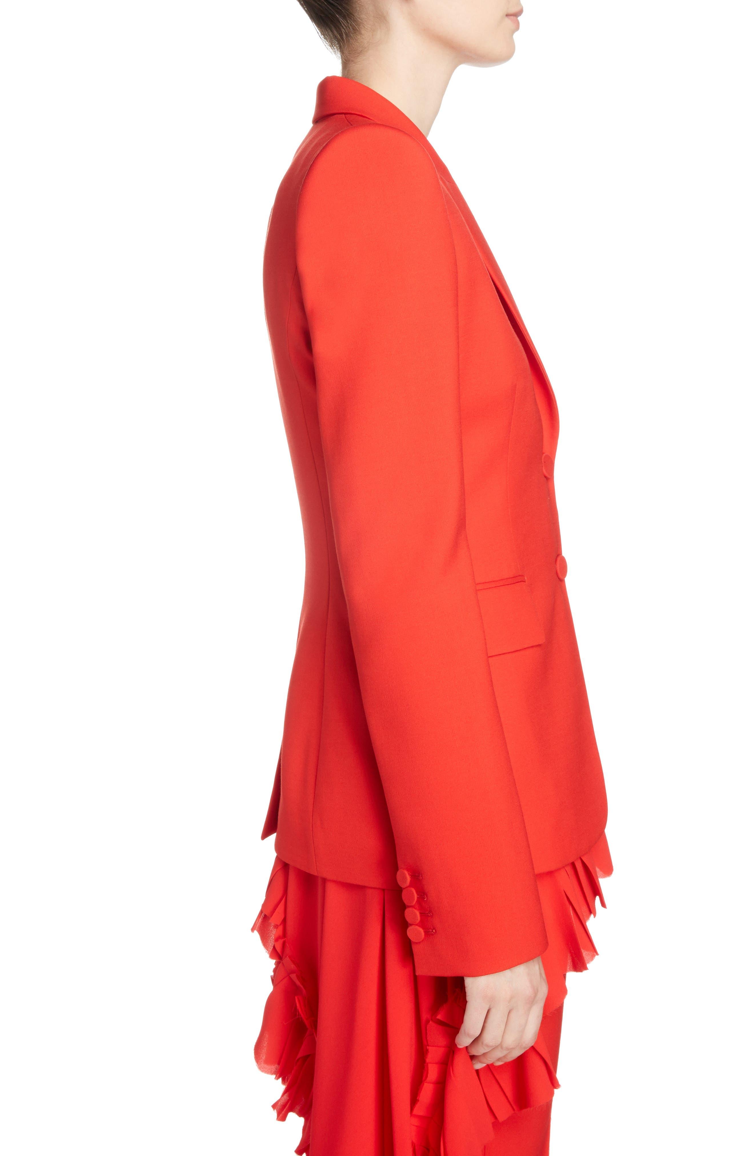 Wool & Silk Blend Blazer,                             Alternate thumbnail 3, color,                             Lust Red