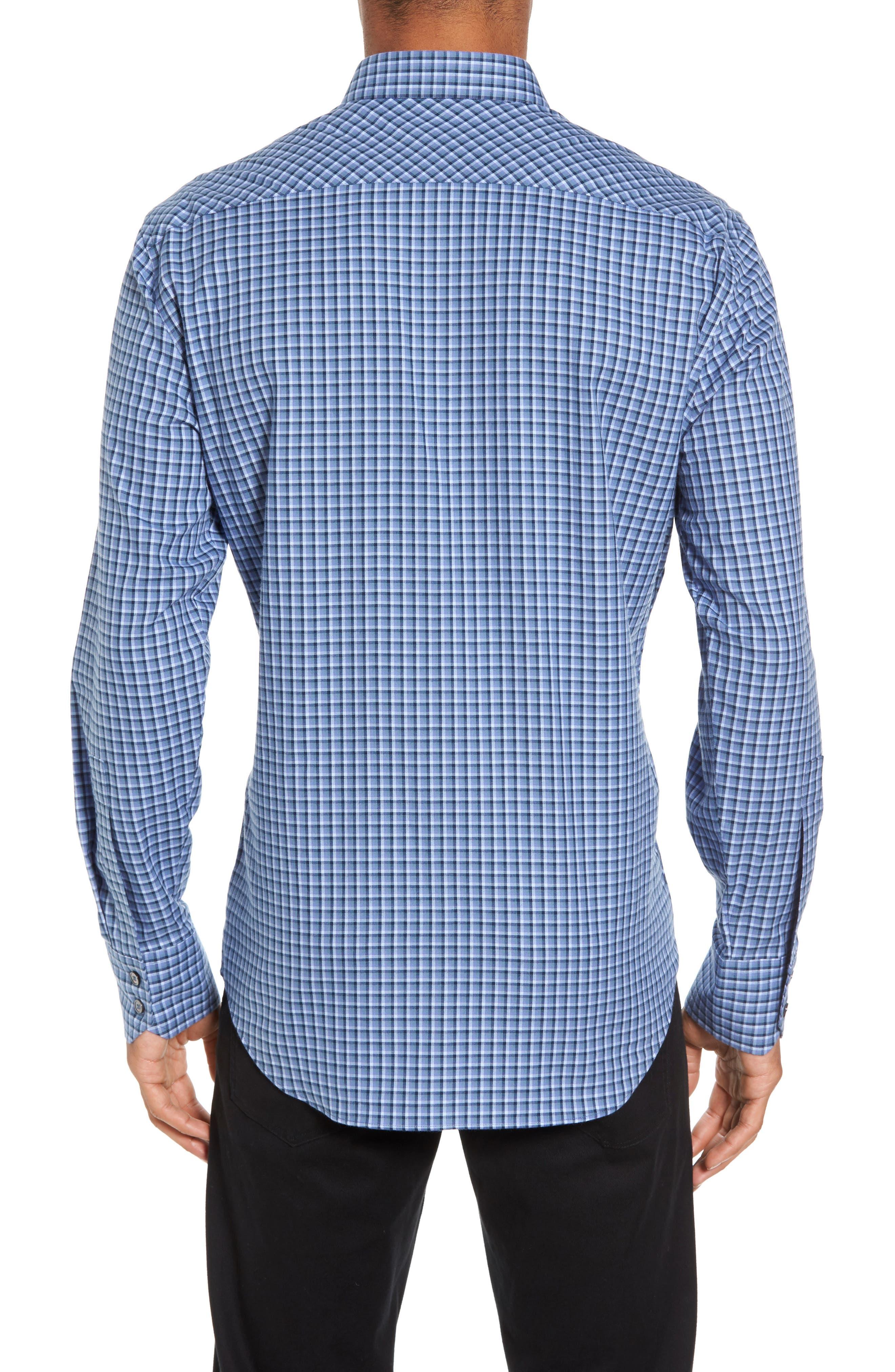 Kapur Slim Fit Check Sport Shirt,                             Alternate thumbnail 2, color,                             Azure