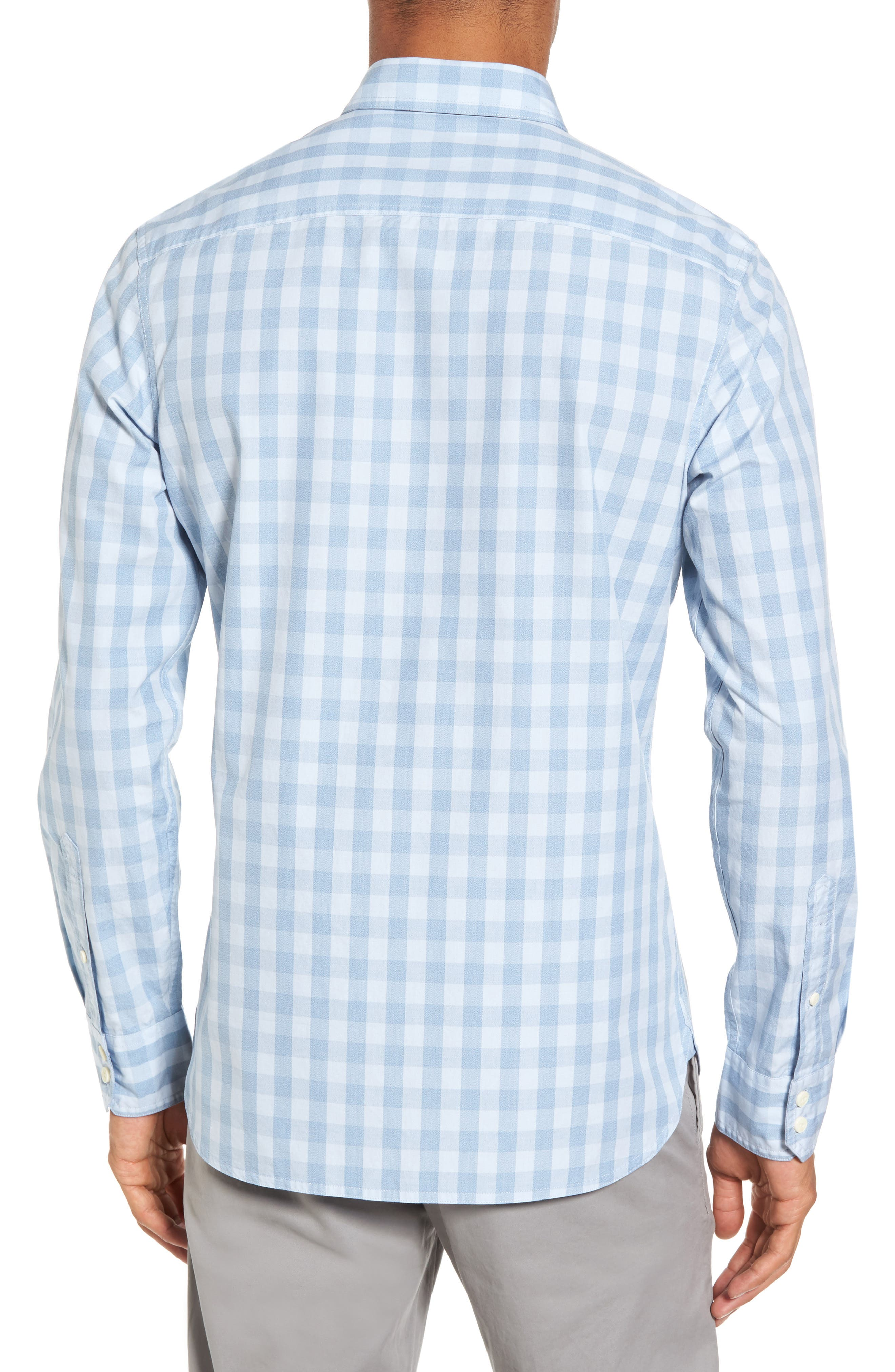 Trim Fit Washed Check Workwear Shirt,                             Alternate thumbnail 3, color,                             Blue Cashmere Check