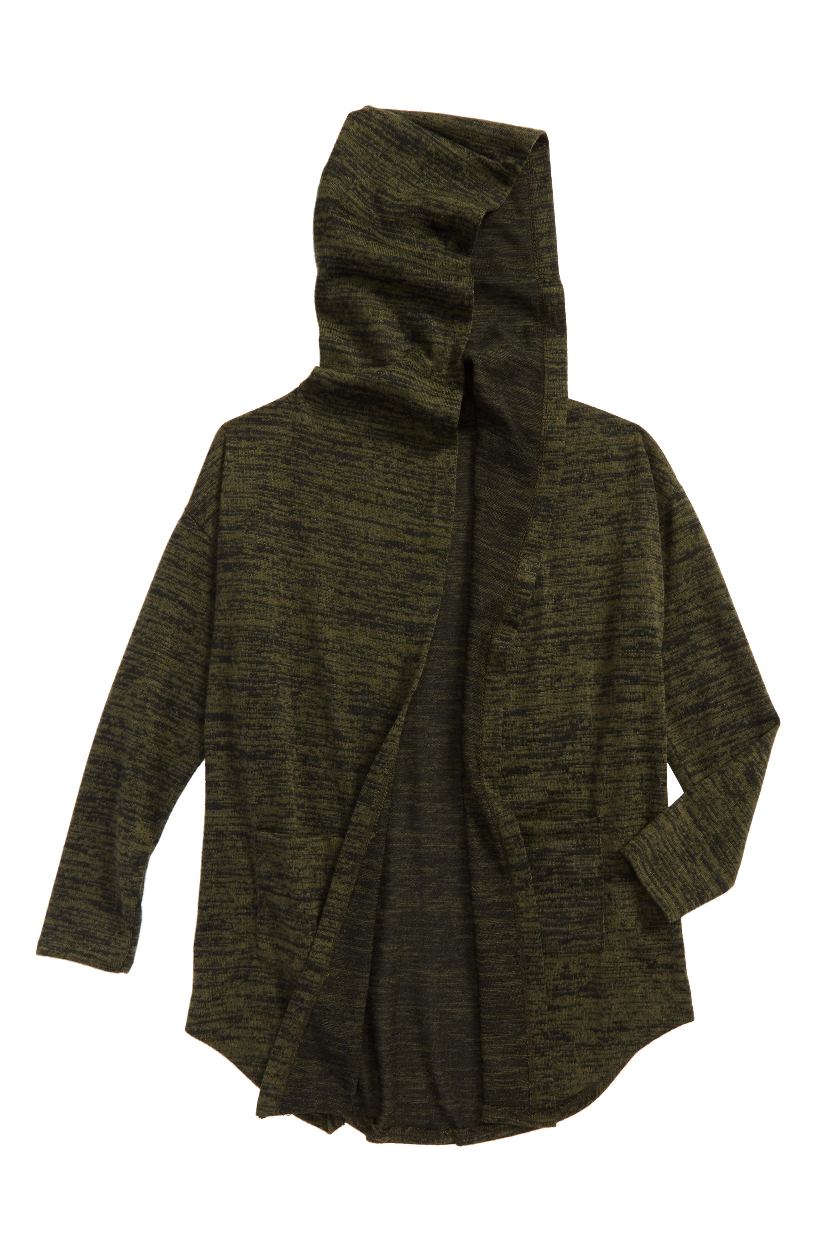 Hooded Cardigan,                             Main thumbnail 1, color,                             Olive/ Black