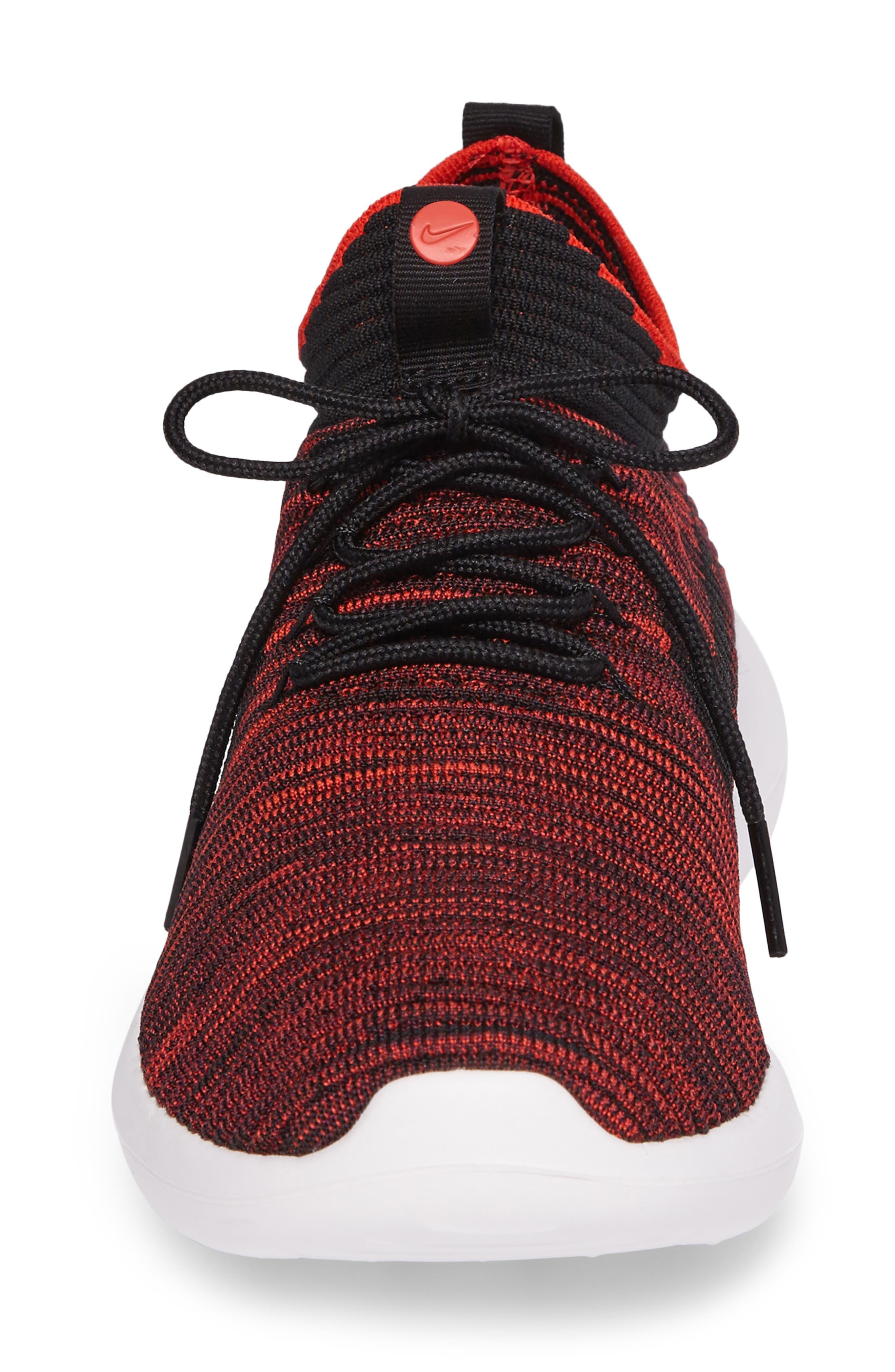 Roshe Two Flyknit V2 Sneaker,                             Alternate thumbnail 5, color,                             Chile Red/ Black