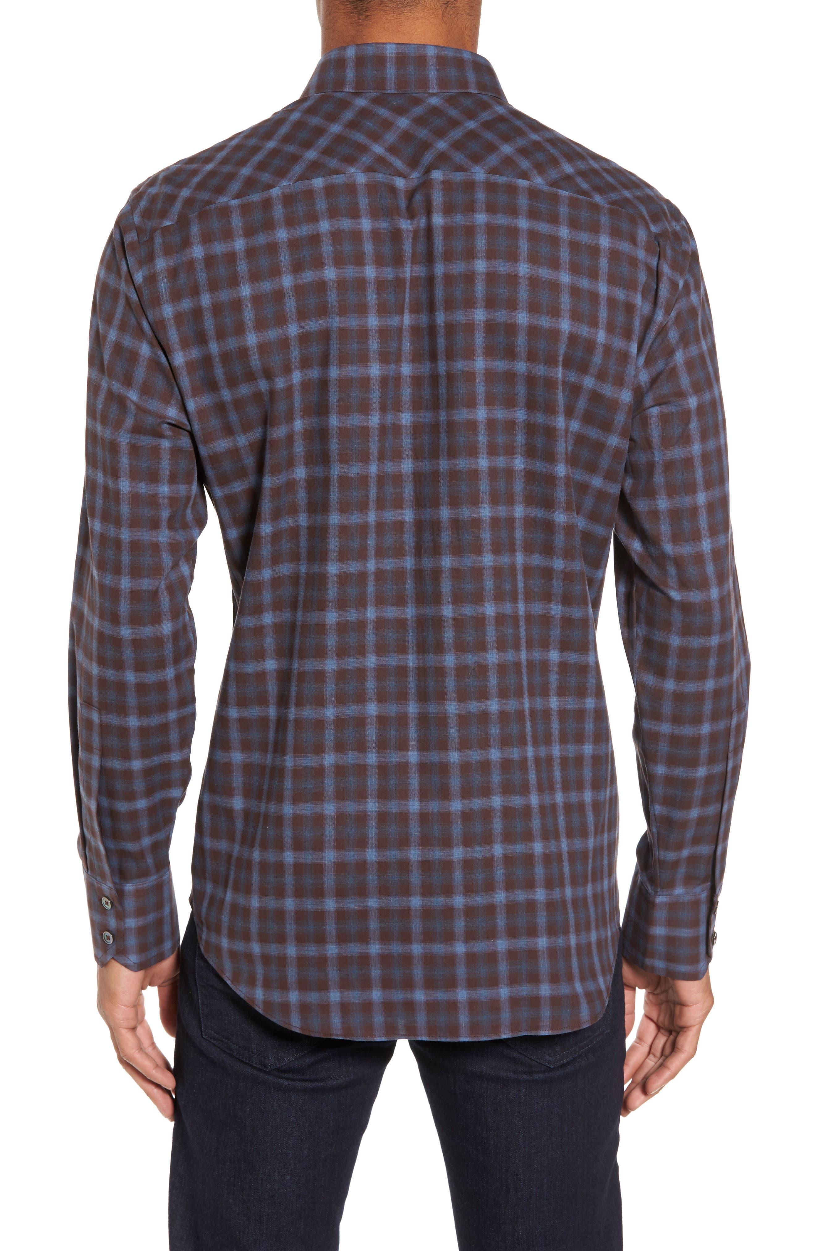 Fathollahi Slim Fit Plaid Sport Shirt,                             Alternate thumbnail 2, color,                             Brown