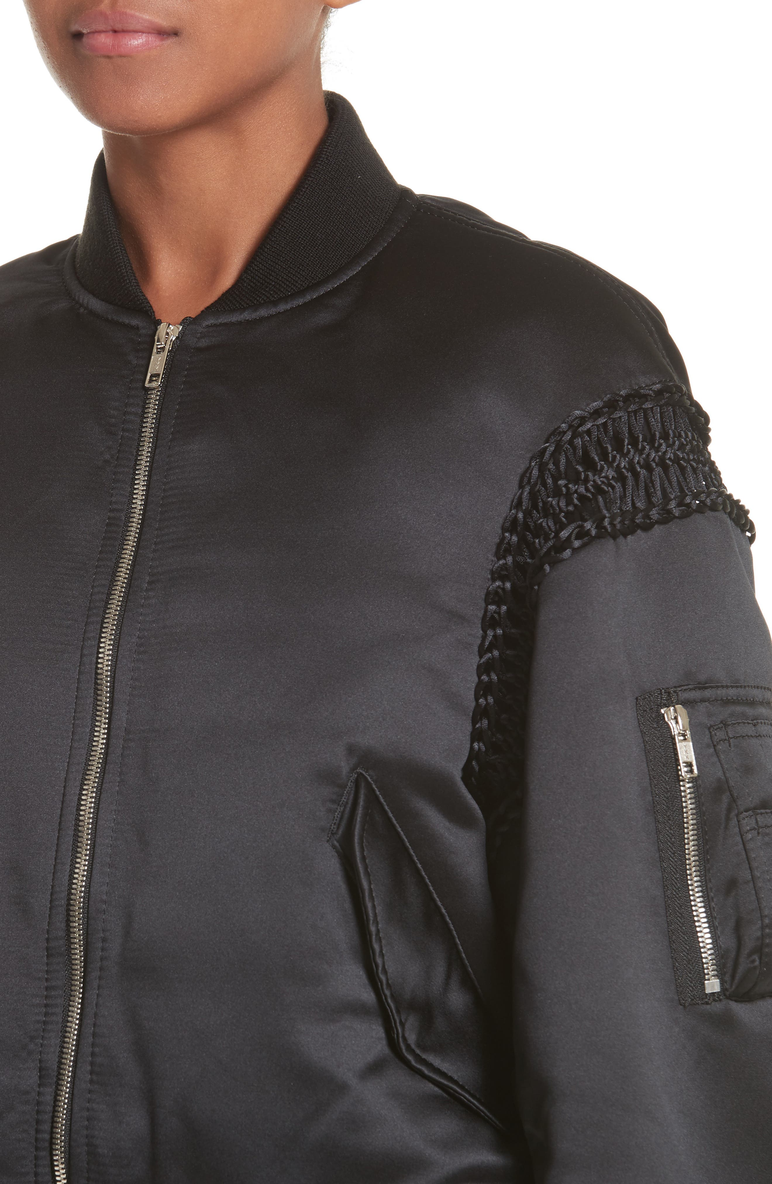 Alternate Image 4  - noir kei ninomiya Macramé Trim Satin Bomber Jacket