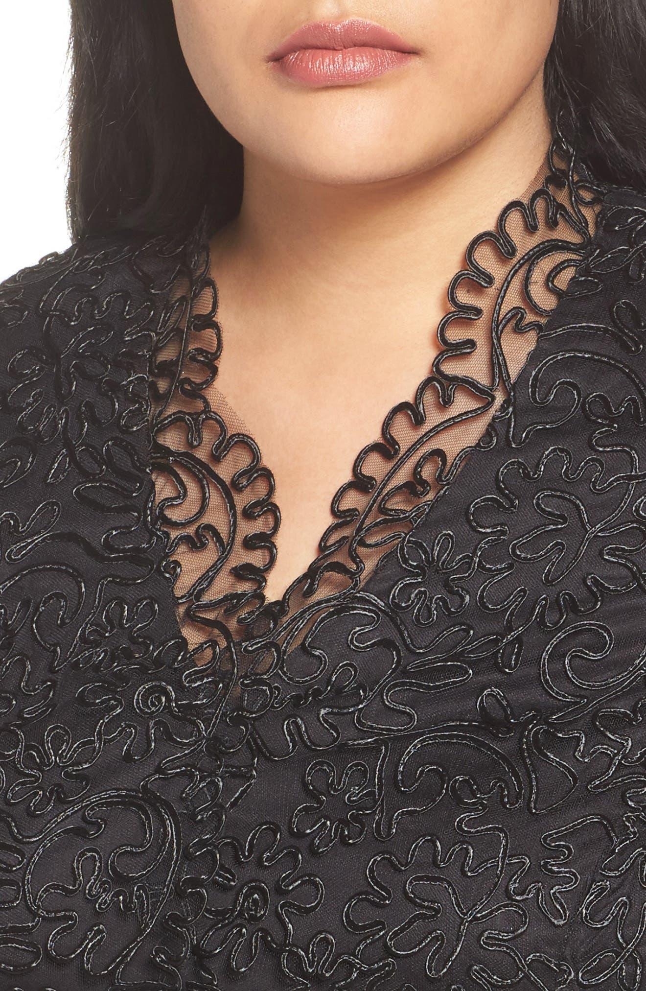 Alternate Image 4  - Alex Evenings Embroidered Illusion Sleeve Blouse (Plus Size)