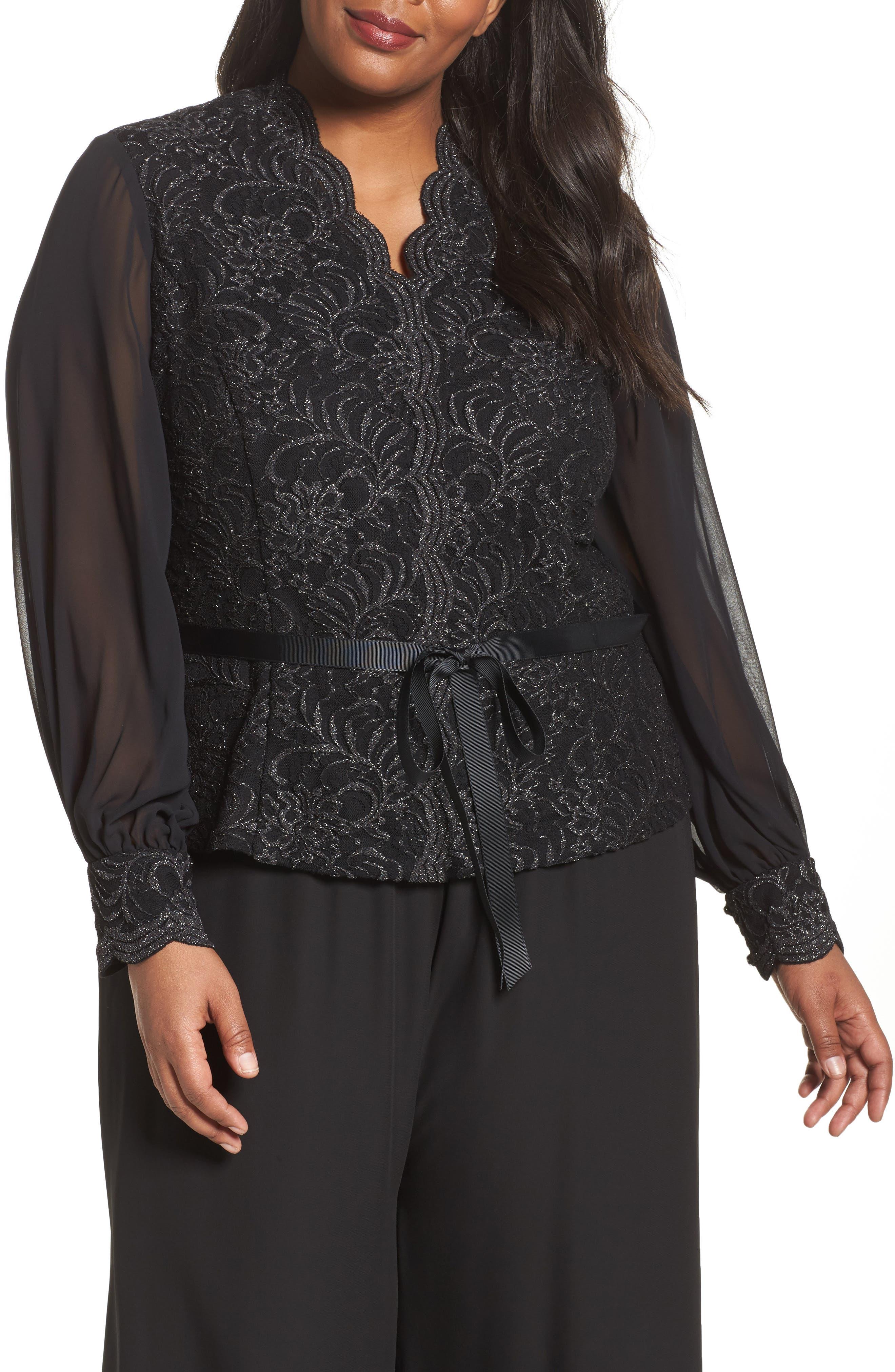 Main Image - Alex Evenings Sequin Lace Blouse with Tie Waist (Plus Size)
