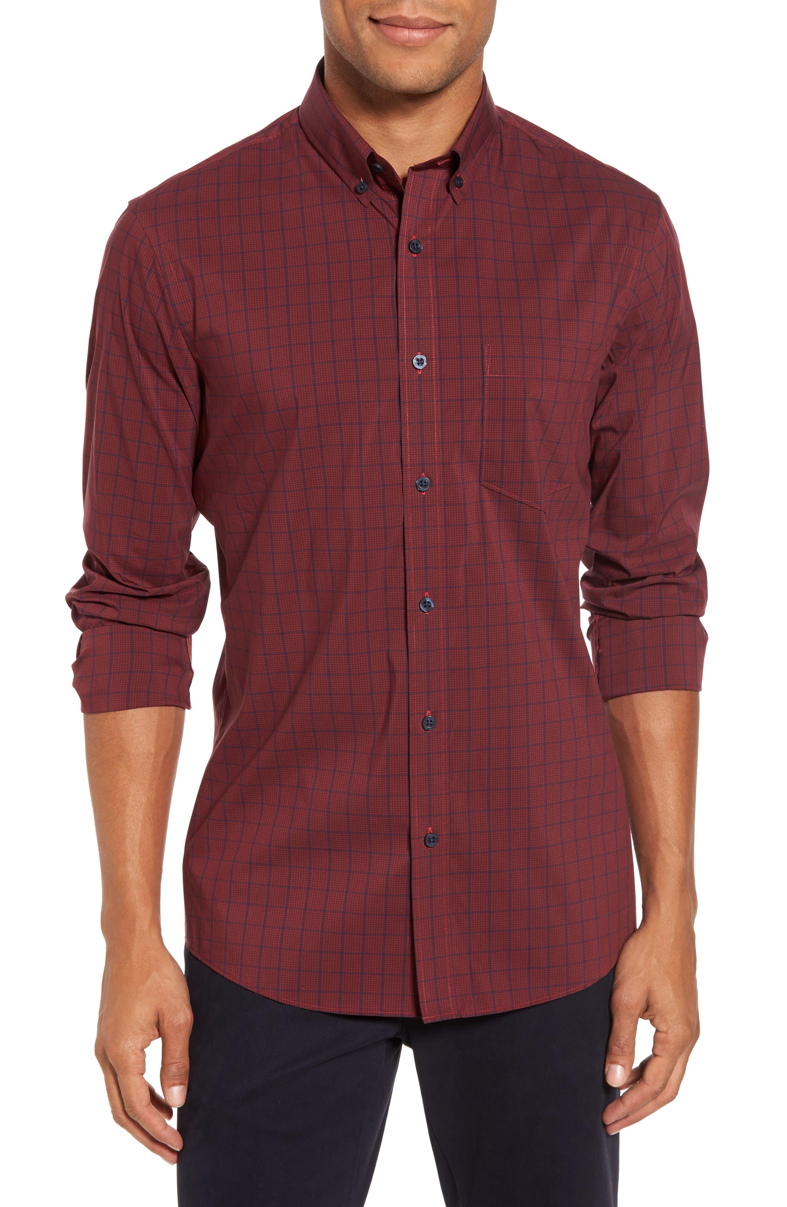Spade Tech-Smart Plaid Sport Shirt,                         Main,                         color, Burgundy Stem Grid Plaid