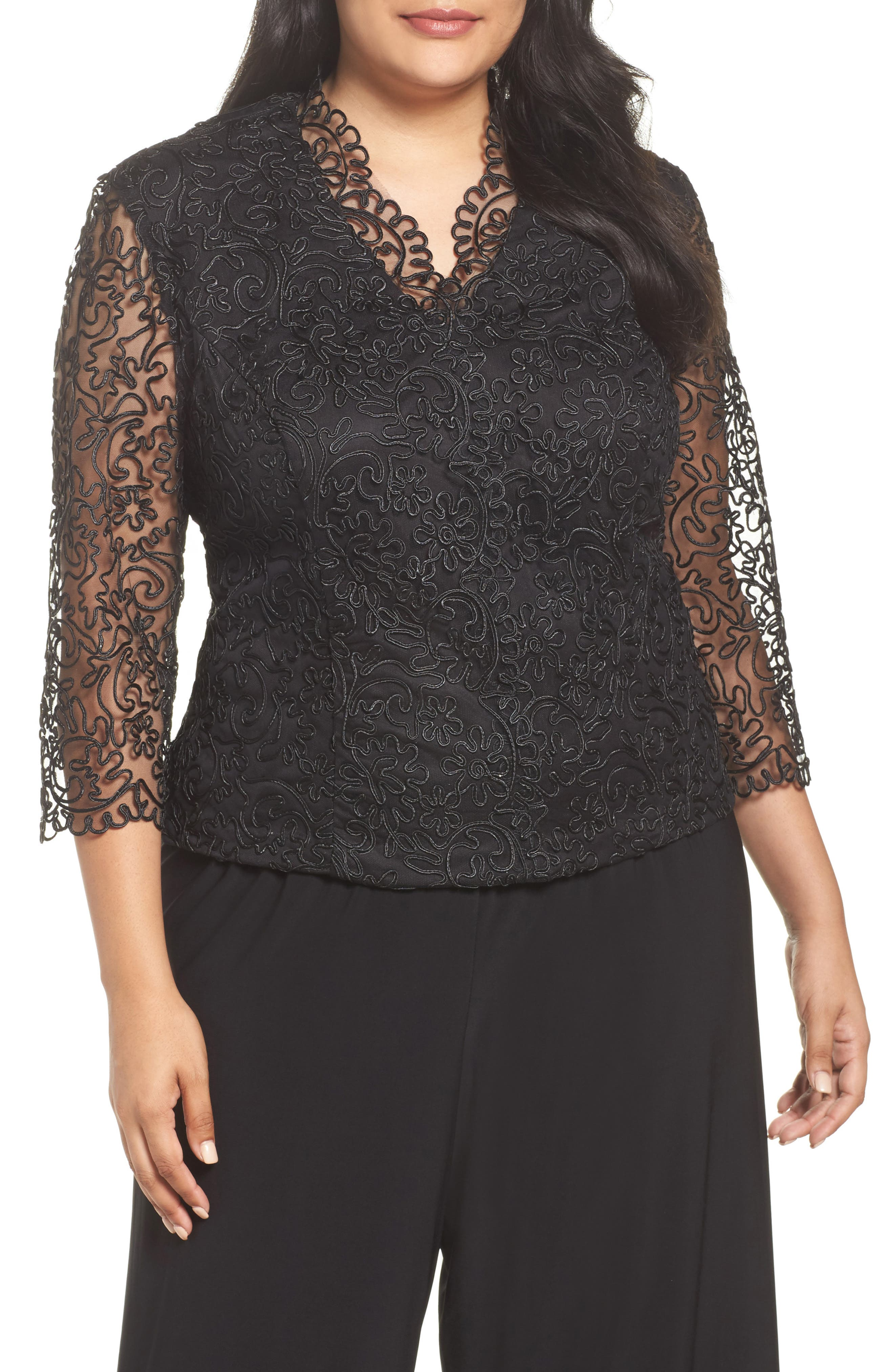 Alex Evenings Embroidered Illusion Sleeve Blouse (Plus Size)