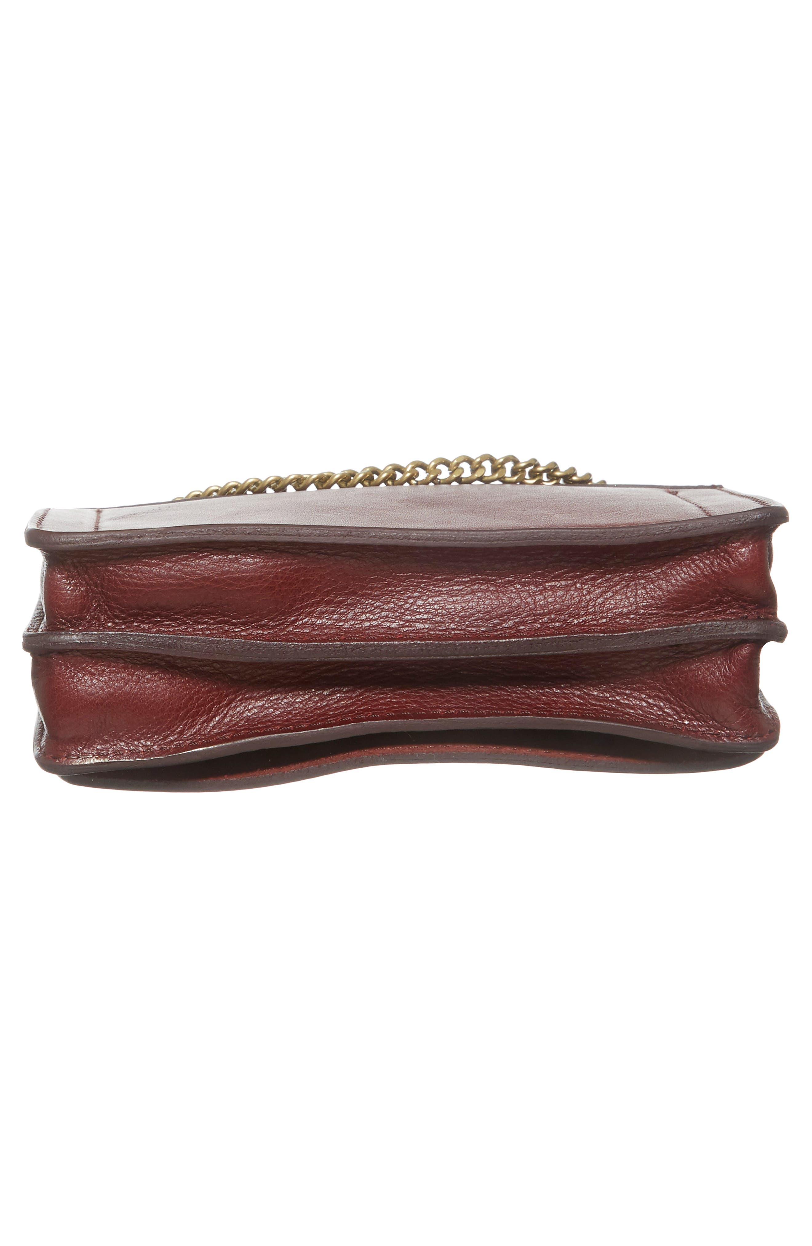 Chain Leather Crossbody Bag,                             Alternate thumbnail 6, color,                             Cabernet