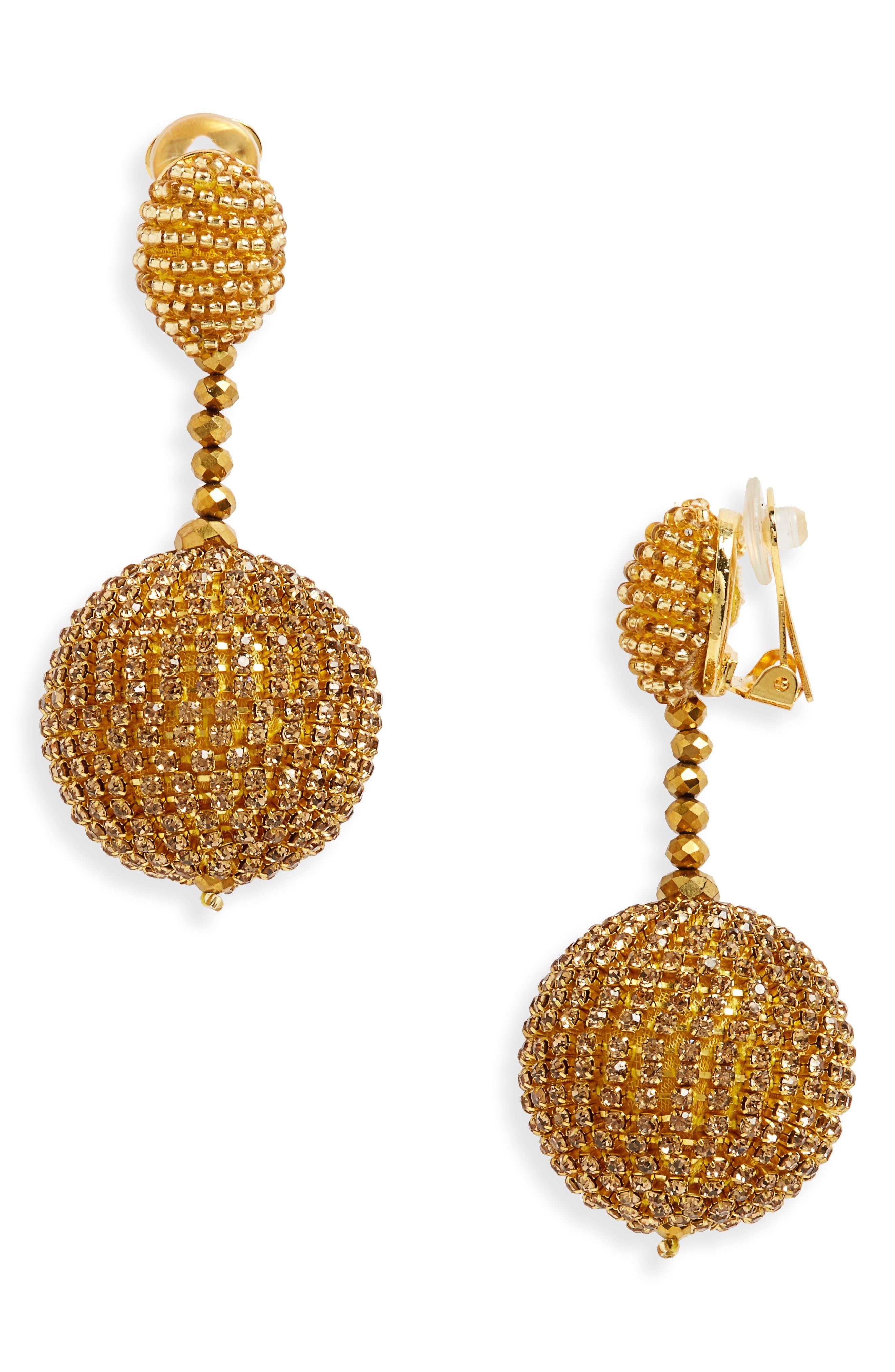 Oscar de la Renta Beaded Drop Clip Earrings
