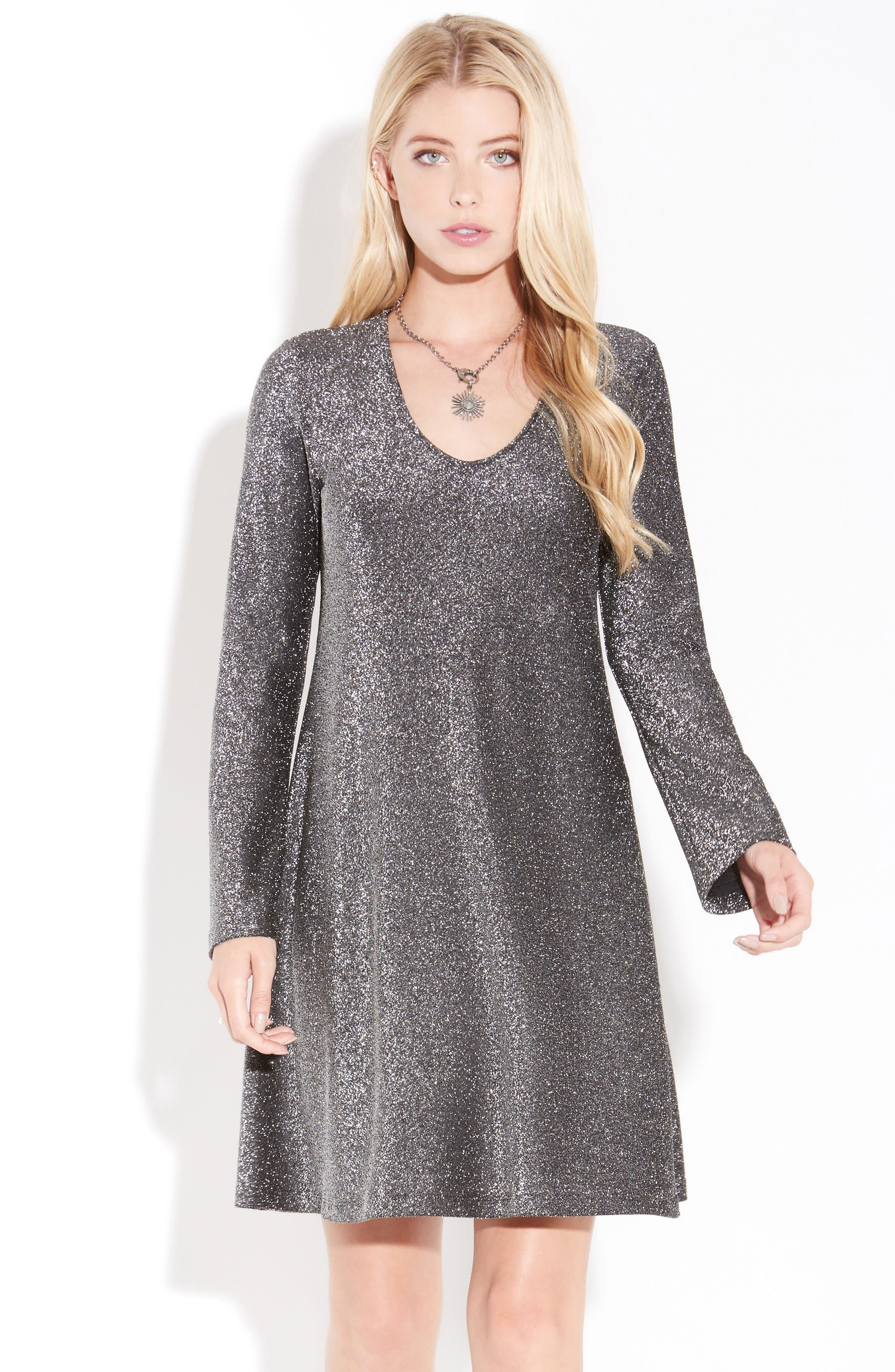Taylor Sparkle A-Line Dress,                             Alternate thumbnail 2, color,                             Black W/ Silver