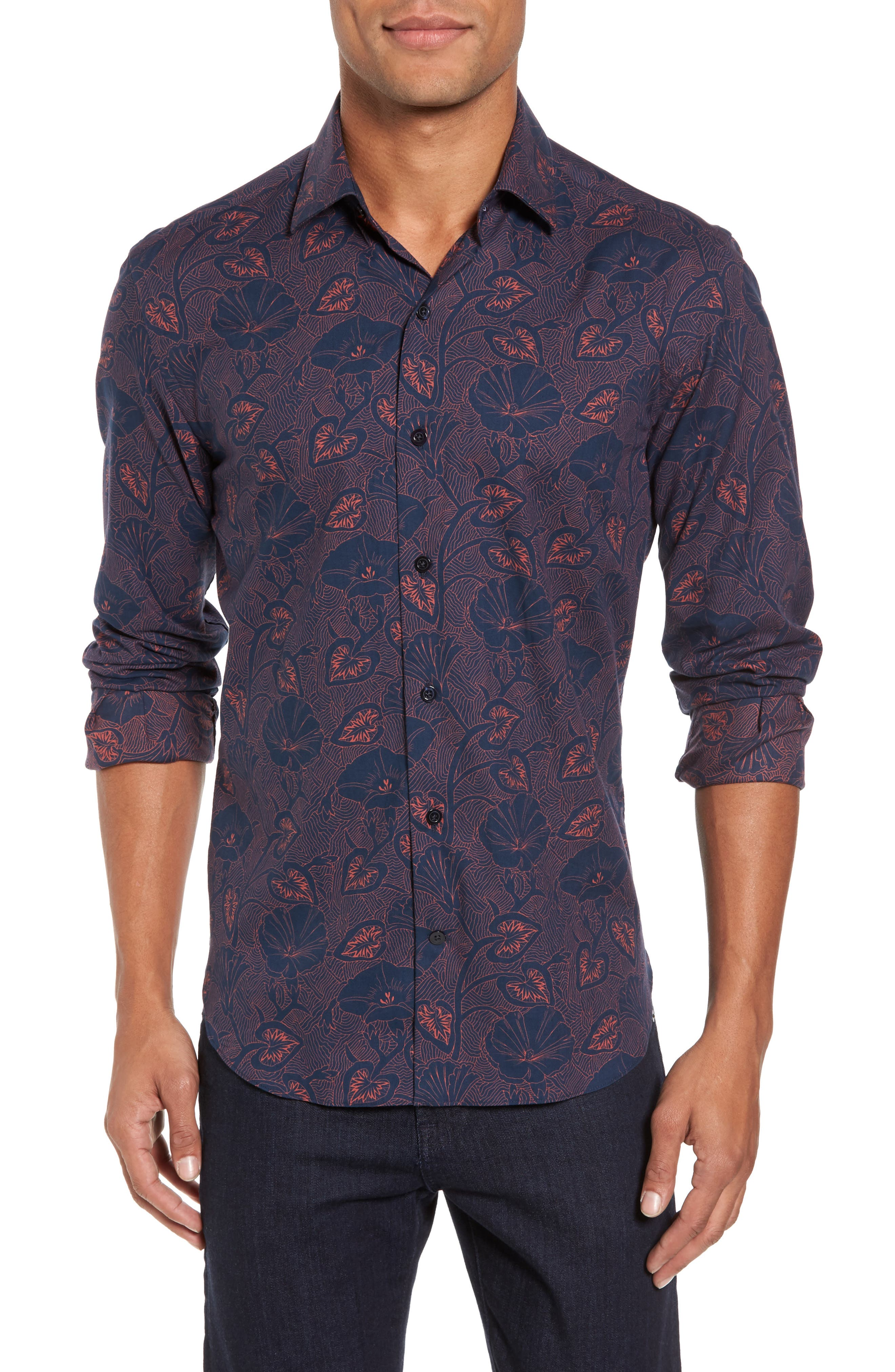 Floral Twill Sport Shirt,                         Main,                         color, Navy
