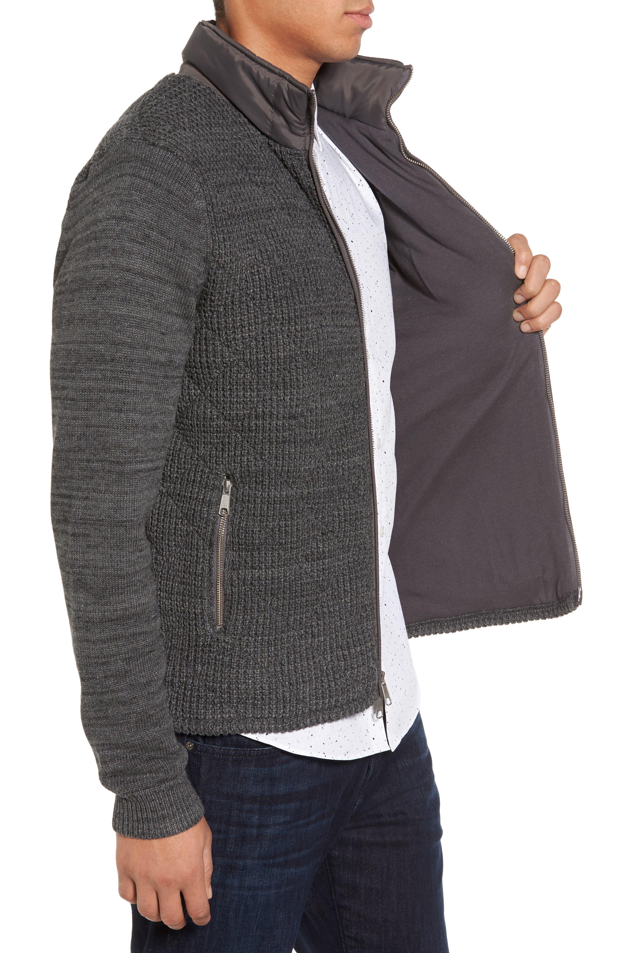 Mixed Media Full Zip Sweater,                             Alternate thumbnail 3, color,                             Grey Dark Charcoal Spacedye
