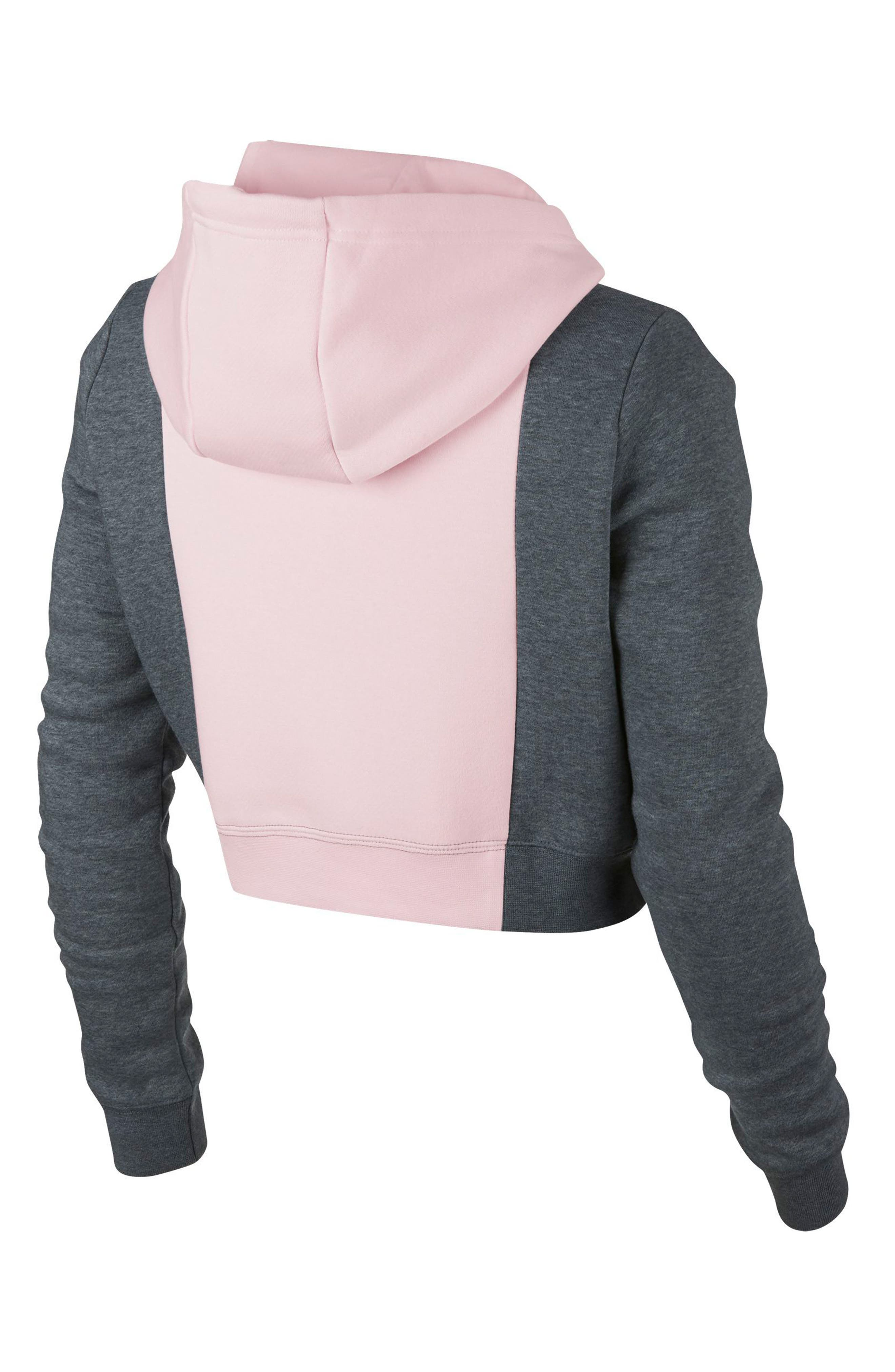 NSW Rally Air Women's Crop Pullover Hoodie,                             Alternate thumbnail 2, color,                             Pearl Pink/ Carbon Heather
