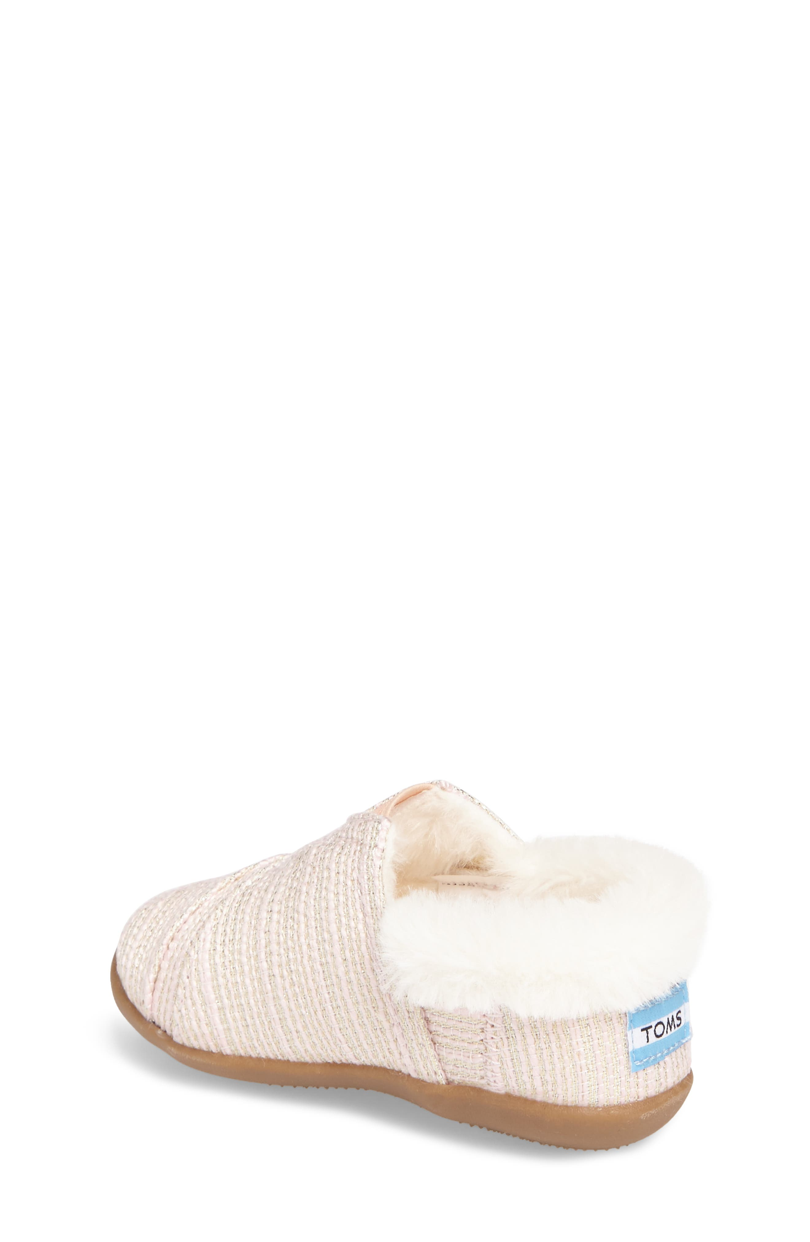 Alternate Image 2  - TOMS Tiny Faux Fur Metallic Slipper (Baby, Walker & Toddler)