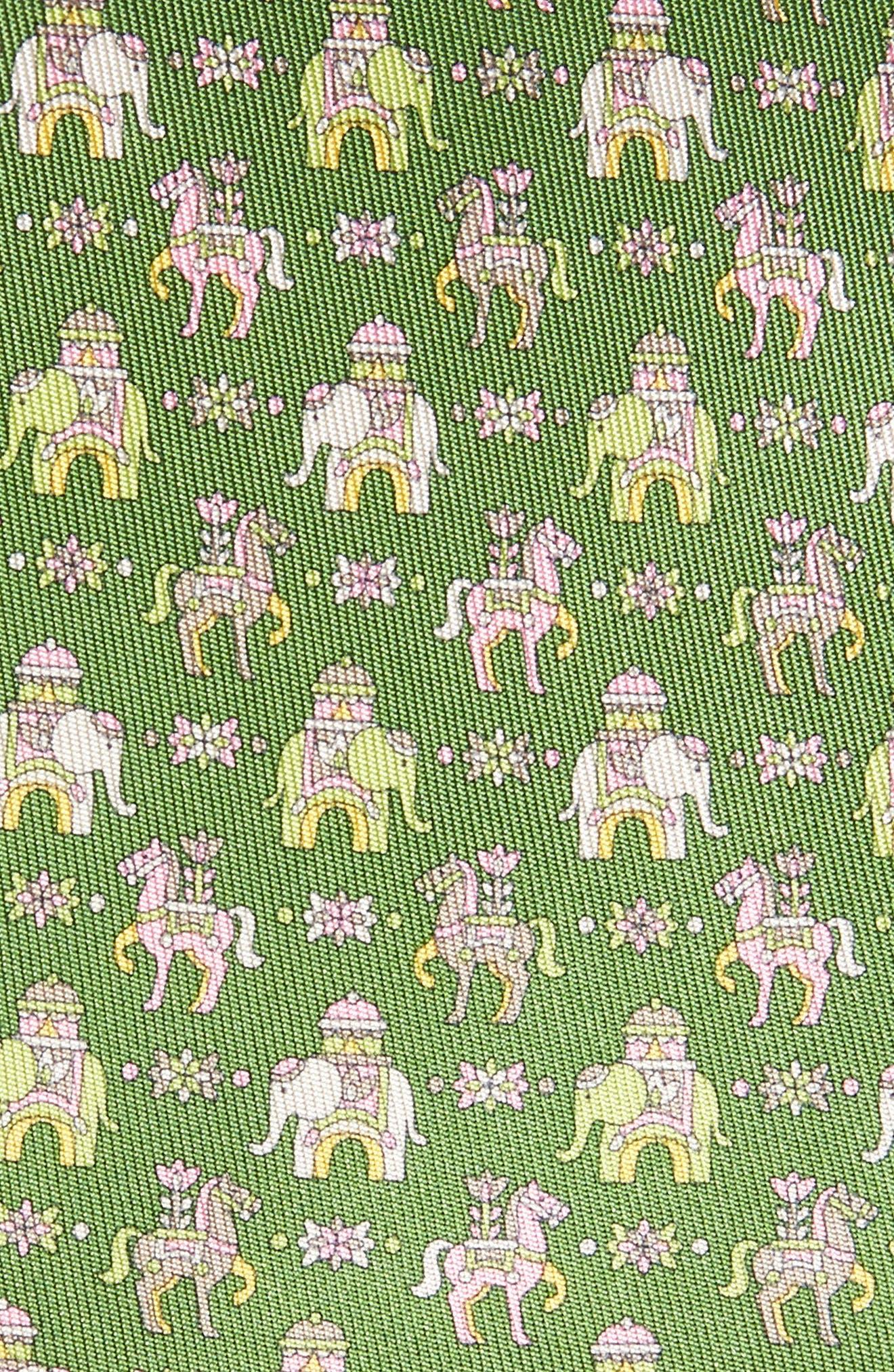 Elephant & Horse Silk Tie,                             Alternate thumbnail 2, color,                             Green