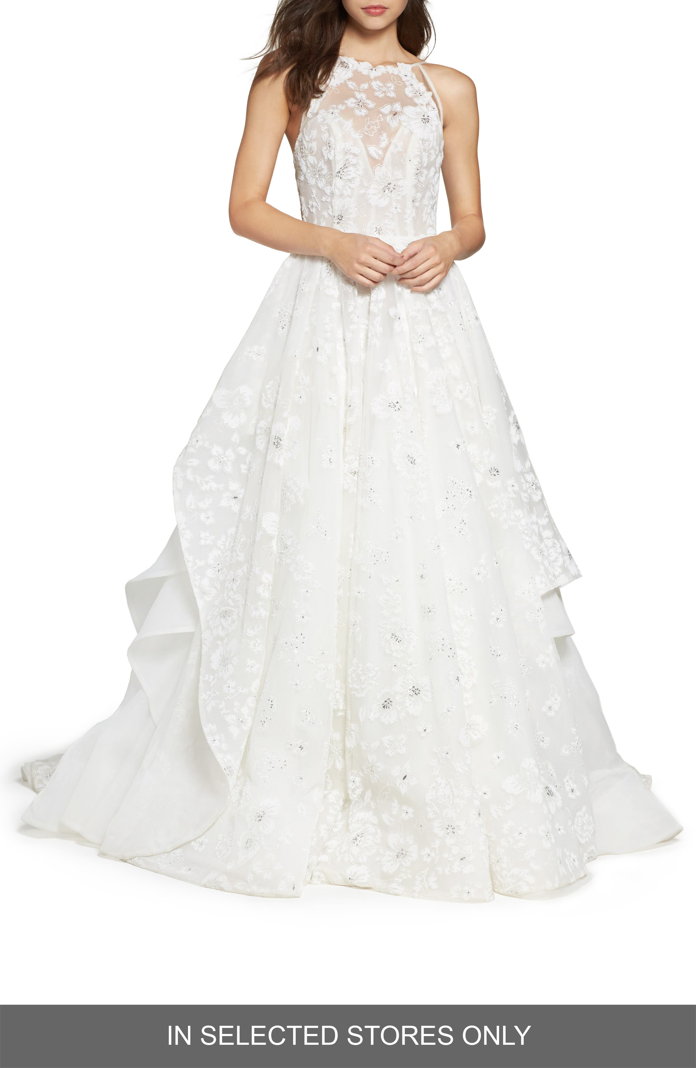 Alternate Image 1 Selected - Hayley Paige Reagan Floral Embroidered Layered Ballgown