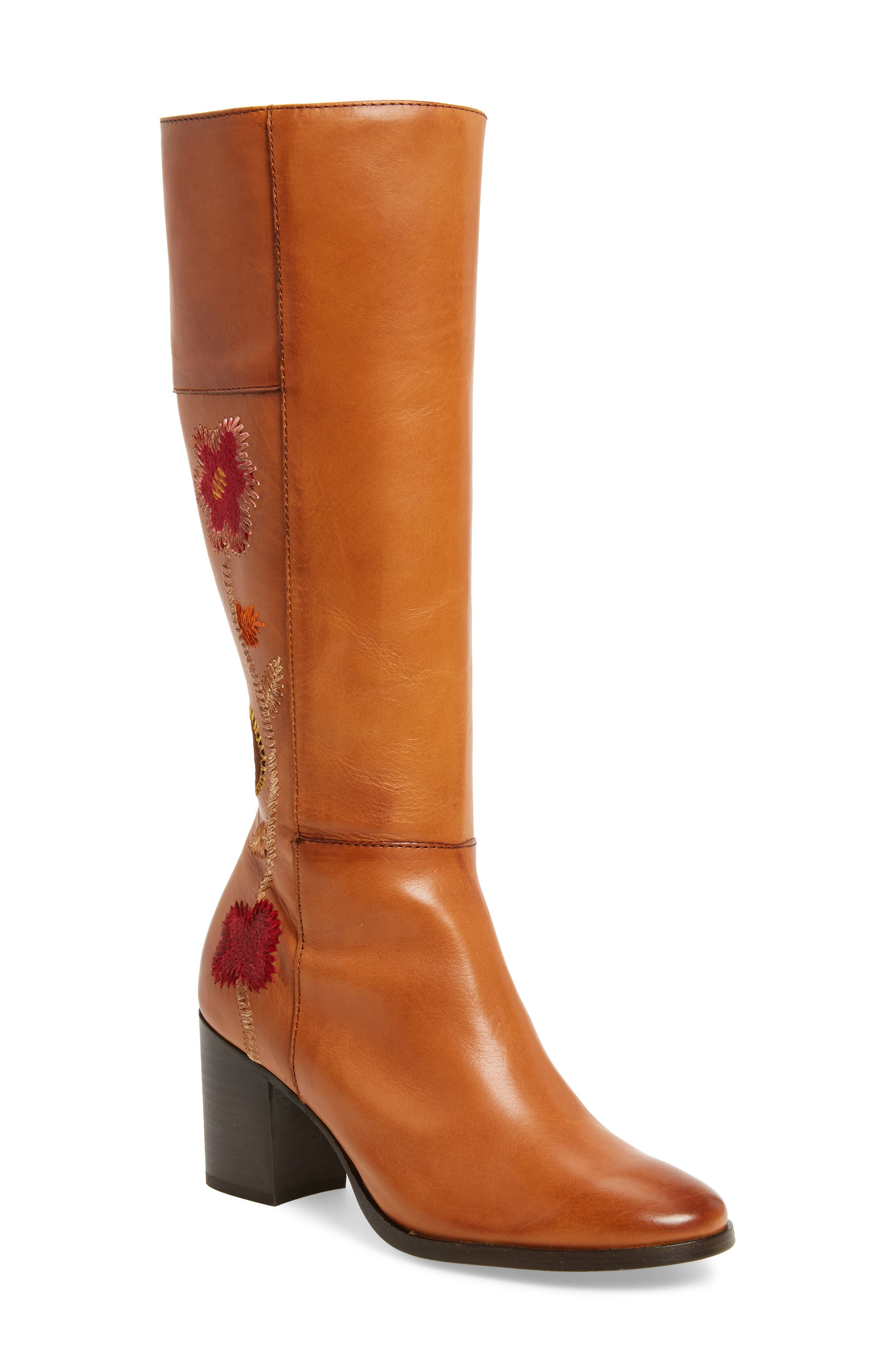 Nova Floral Embroidered Knee High Boot,                             Main thumbnail 1, color,                             Cognac Fabric