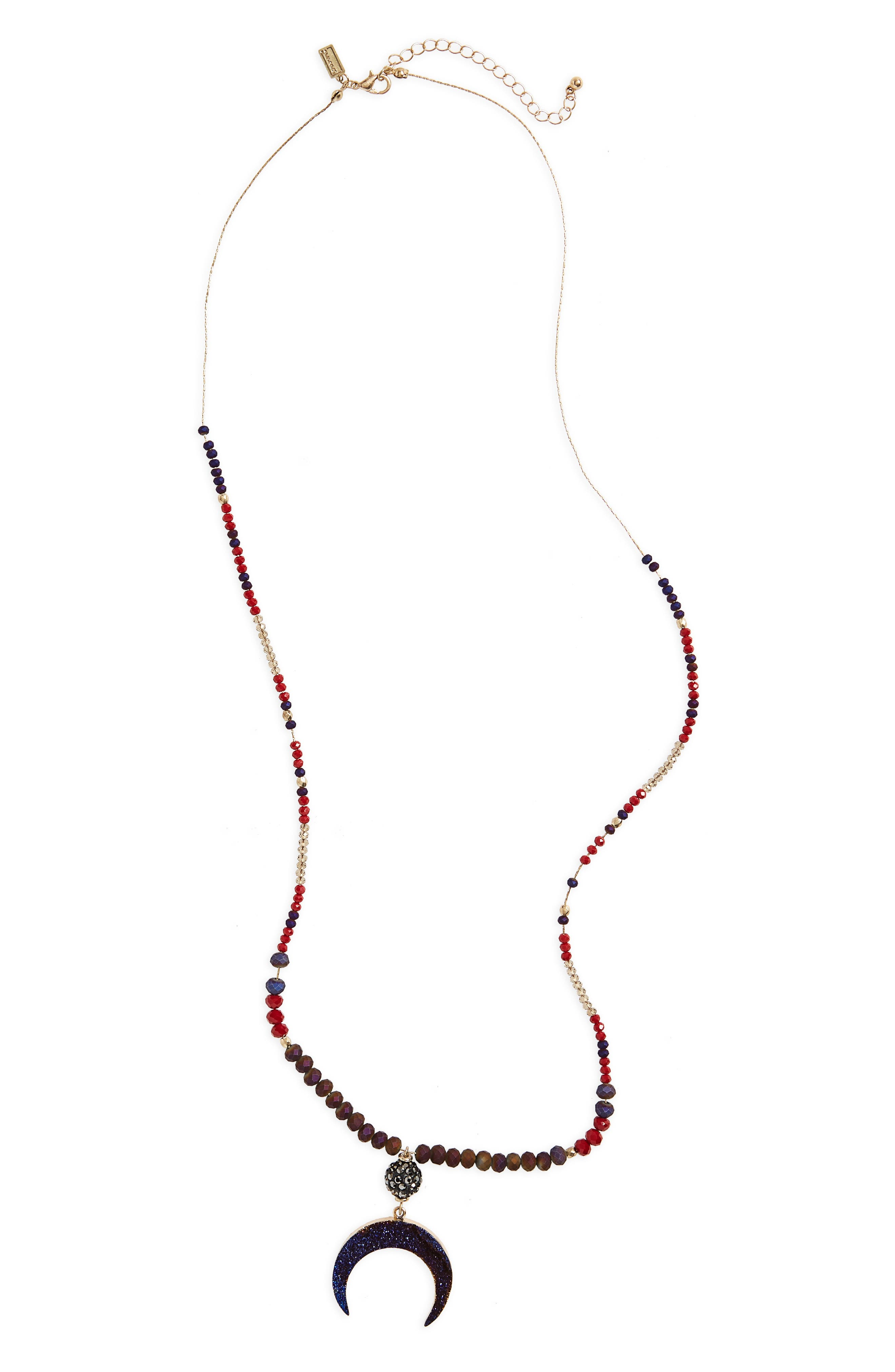 Canvas Drusy Moon Beaded Necklace