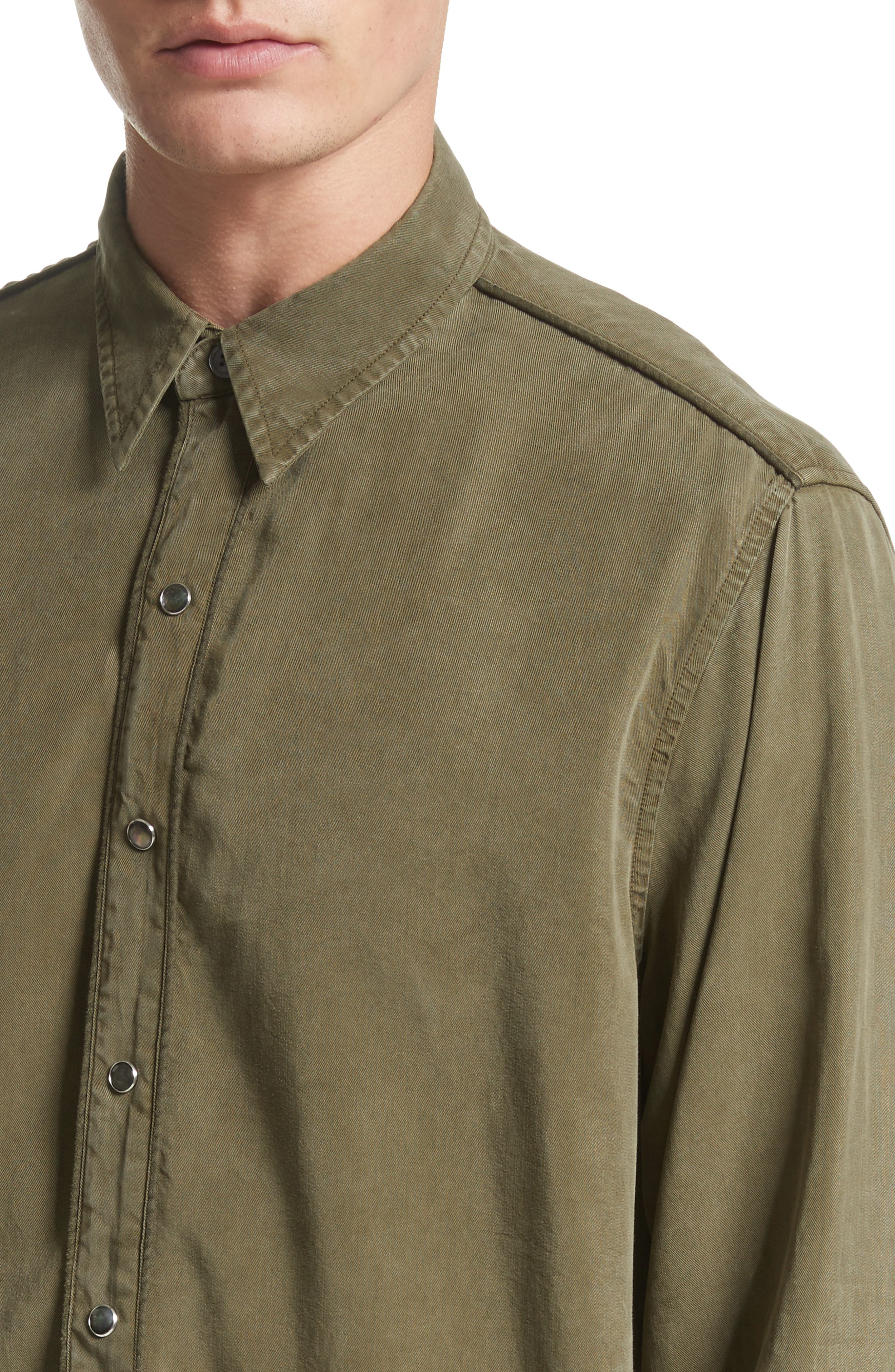 Lyocell Western Shirt,                             Alternate thumbnail 4, color,                             Green