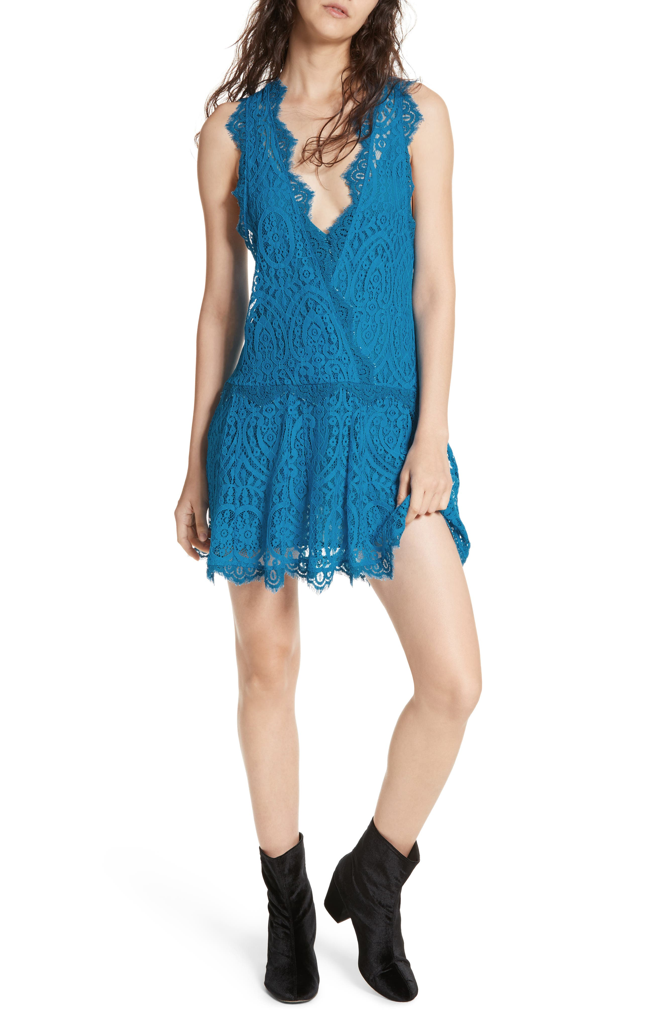 Heart in Two Lace Minidress,                         Main,                         color, Blue