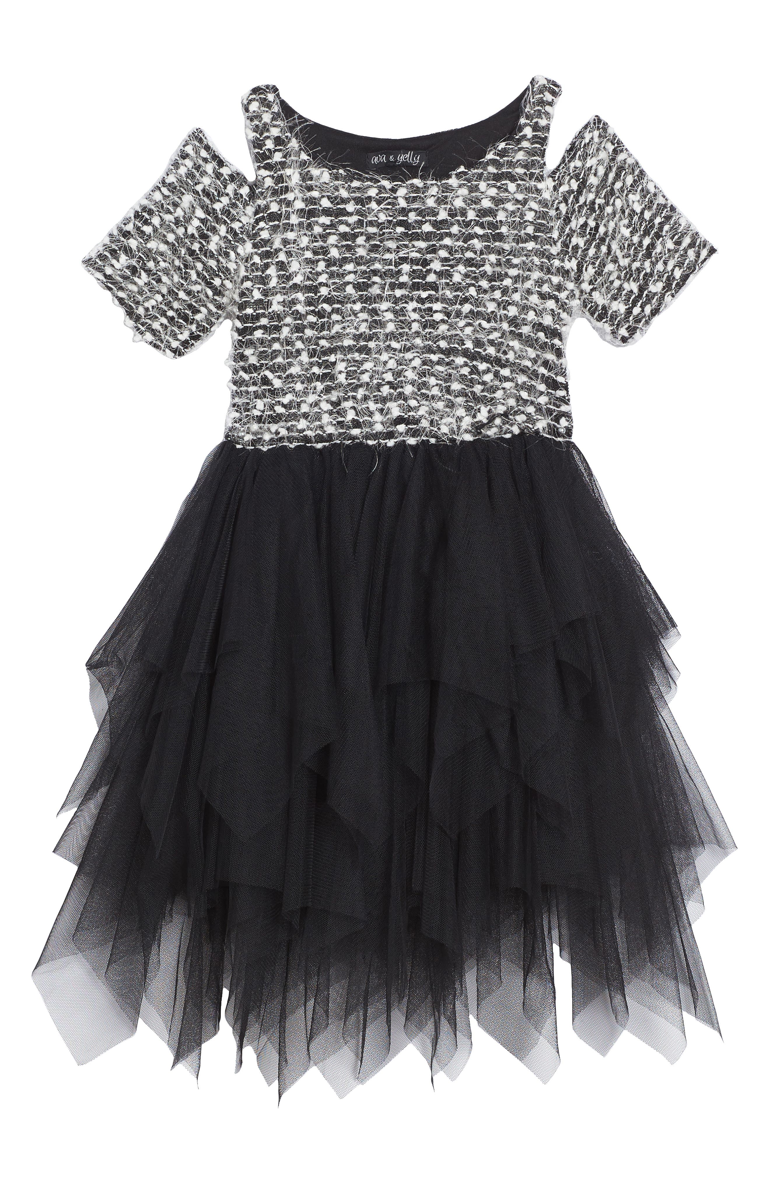 Main Image - Ava & Yelly Sweater Tutu Dress (Toddler Girls & Little Girls)