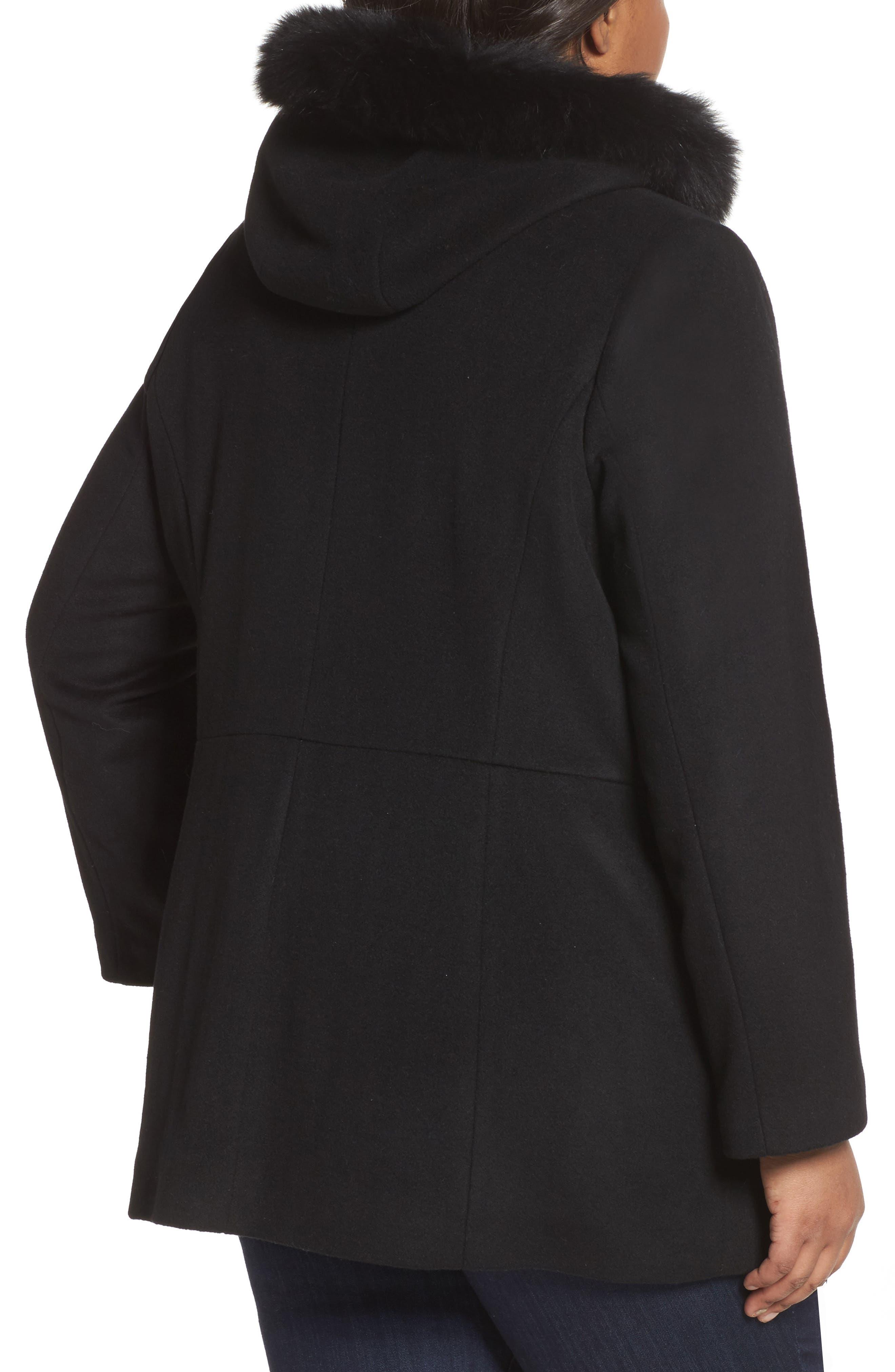 Alternate Image 2  - Sachi Genuine Fox Fur Trim Hooded Wool Blend Jacket (Plus Size)