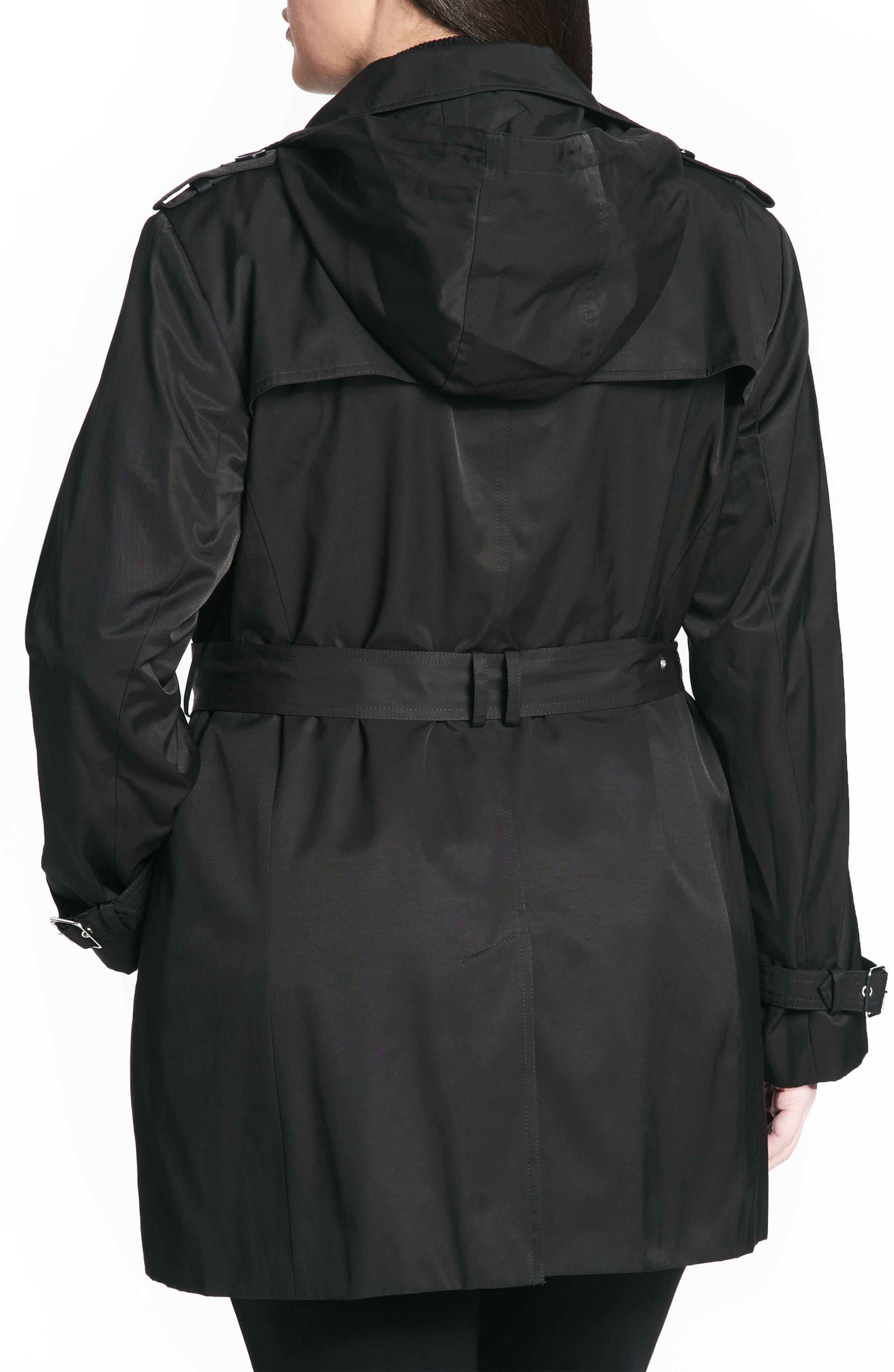 Alternate Image 2  - Calvin Klein Poplin Trench Coat (Plus Size)