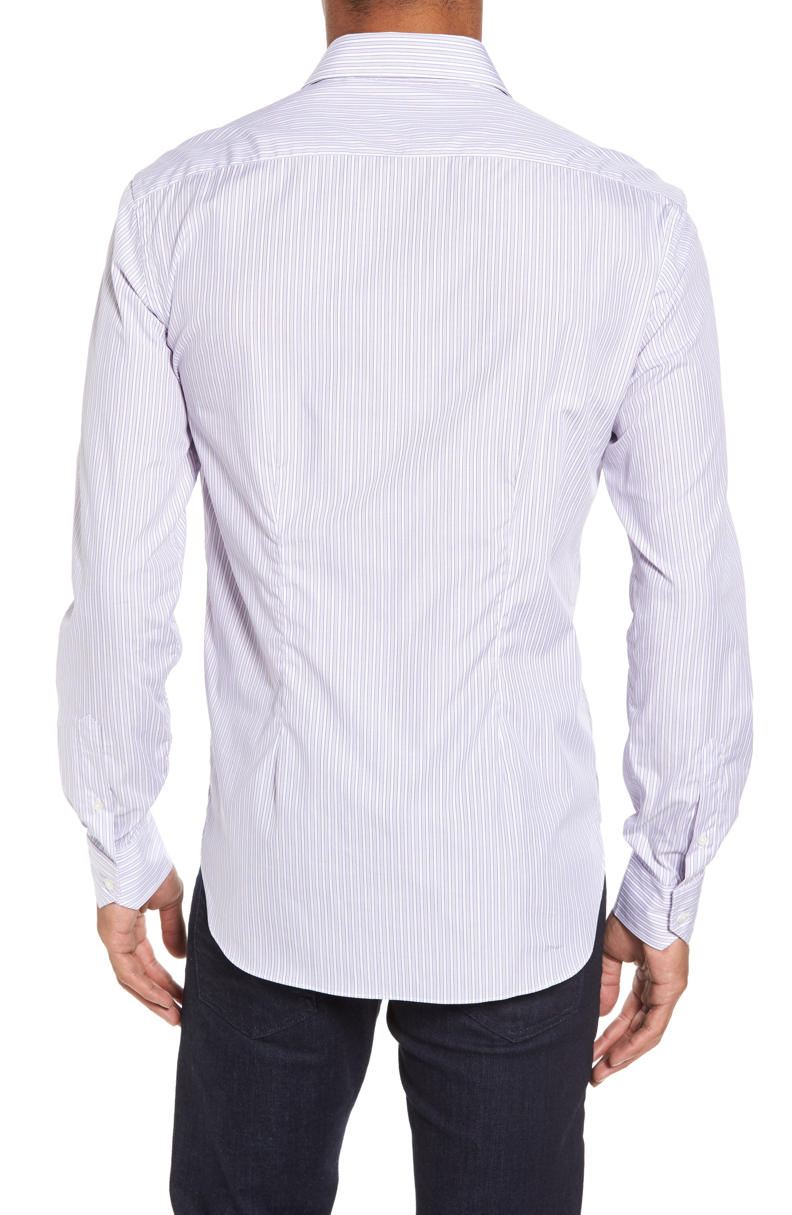 Slim Fit Perfect Stripe Sport Shirt,                             Alternate thumbnail 2, color,                             Purple